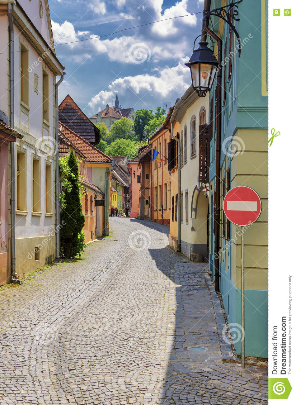 Medieval streets with colorful houses in sighisoara stock photo image 72656555 - Saxon style houses in transylvania ...