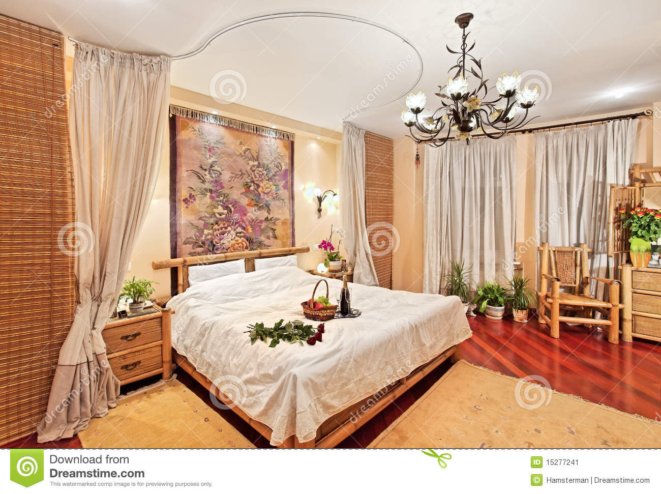 Me val Style Bedroom With Canopy Bed Stock Image Image