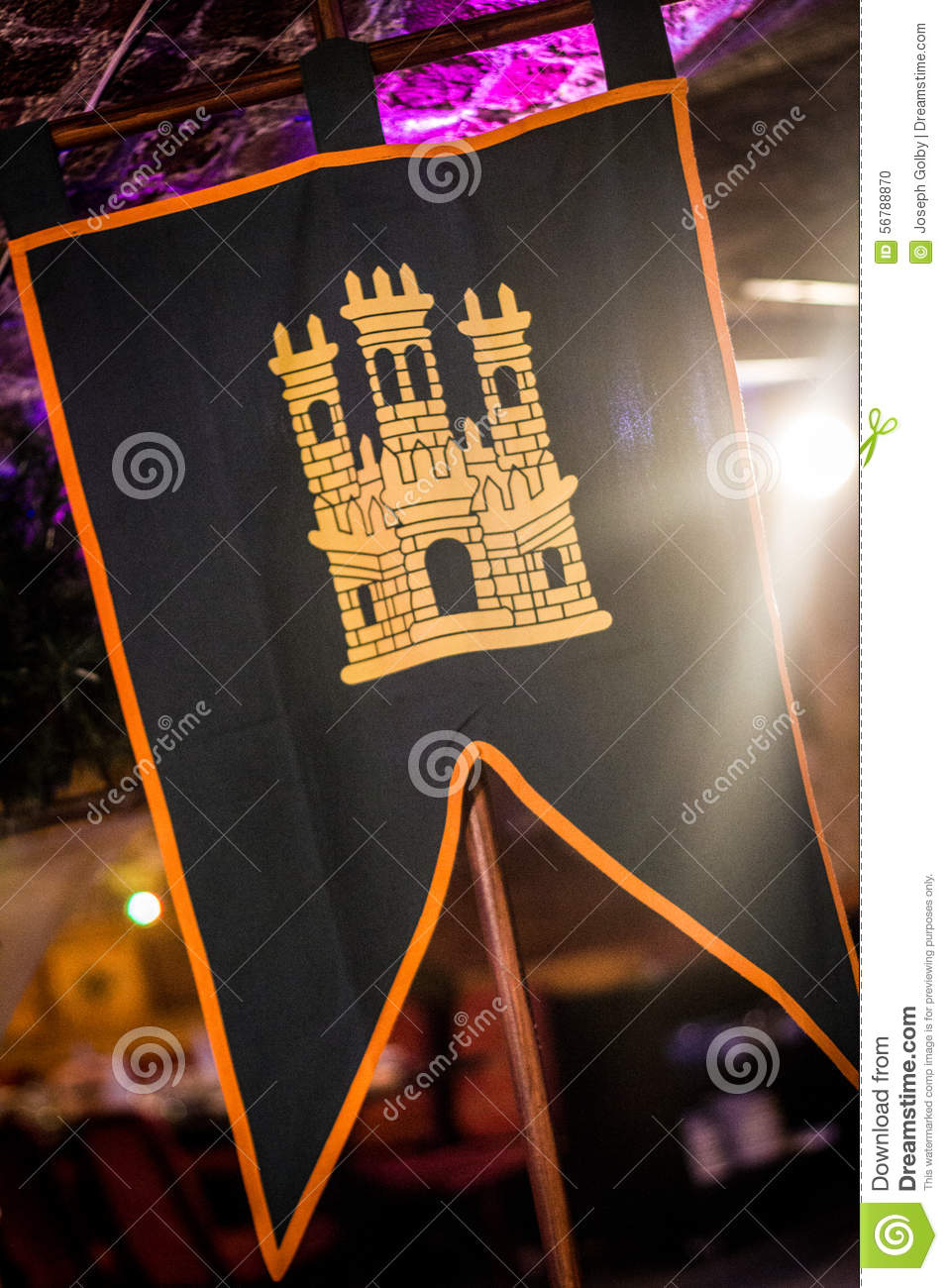 Medieval Style Castle Banner  Historical Flag Stock Photo