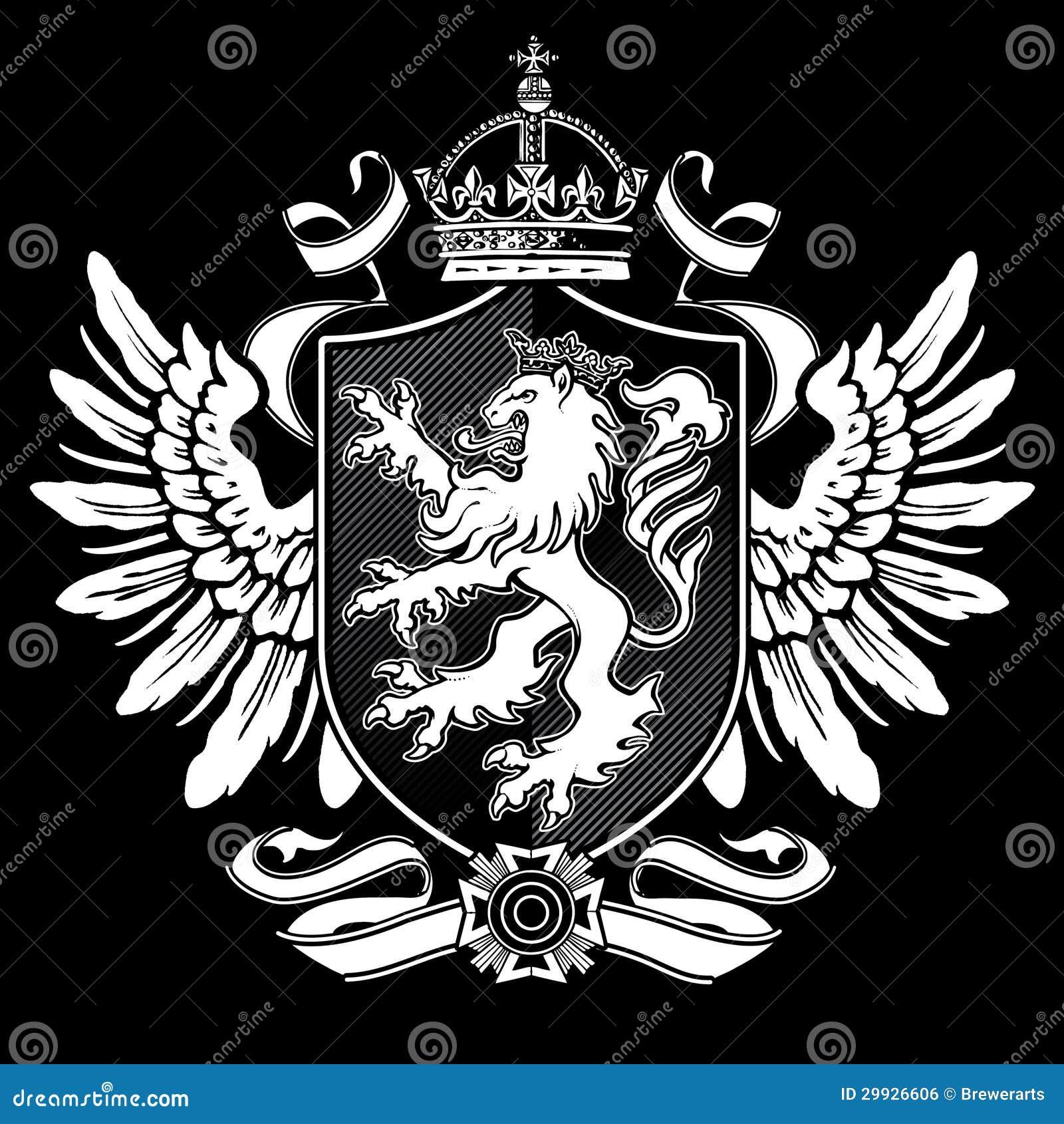 Heraldic lion wing crest on black stock vector illustration of heraldic lion wing crest on black biocorpaavc Gallery