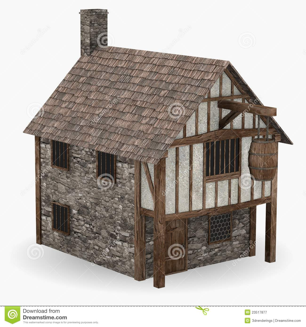 Medieval tavern stock illustration. Illustration of barn ...