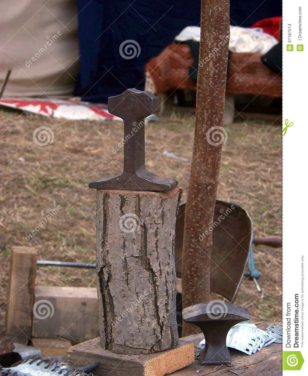 Medieval tools stock photo  Image of hammer, wood, medieval