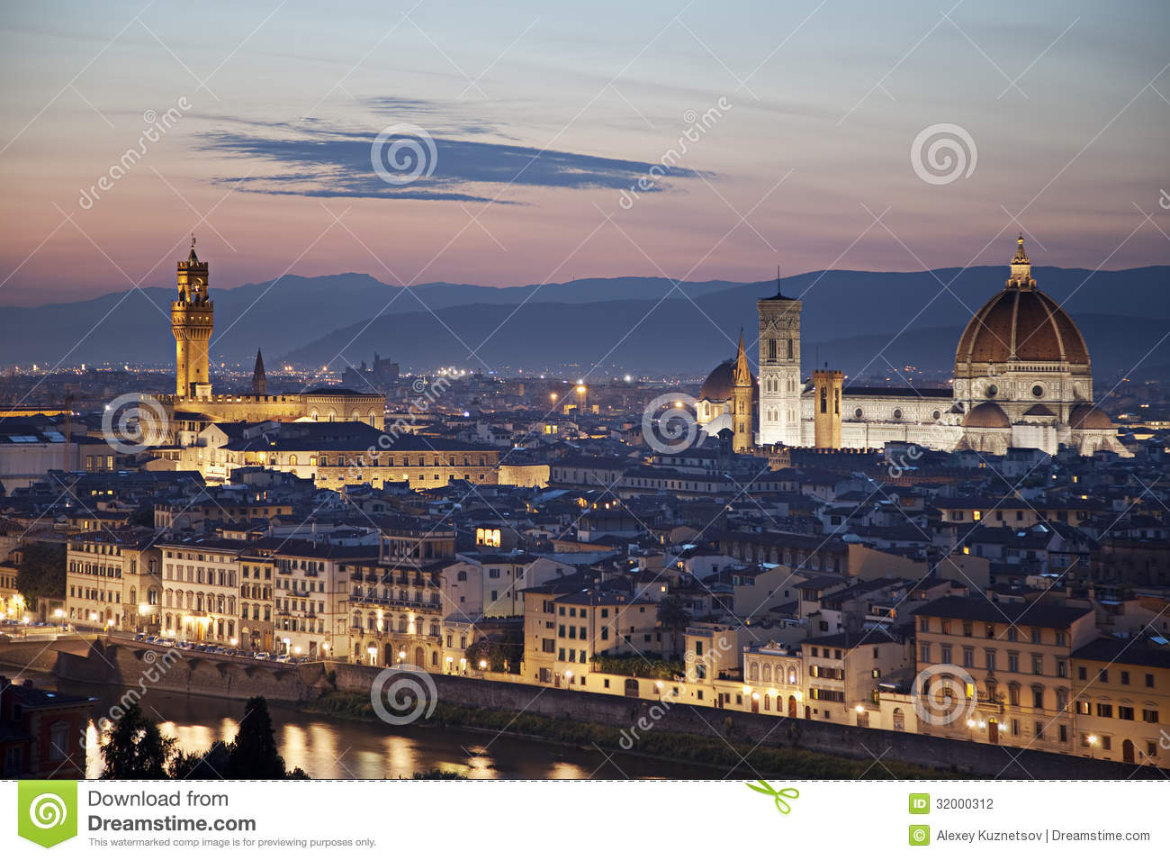 City Of Florence: Medieval Town Of Florence With Duomo, Italy Stock