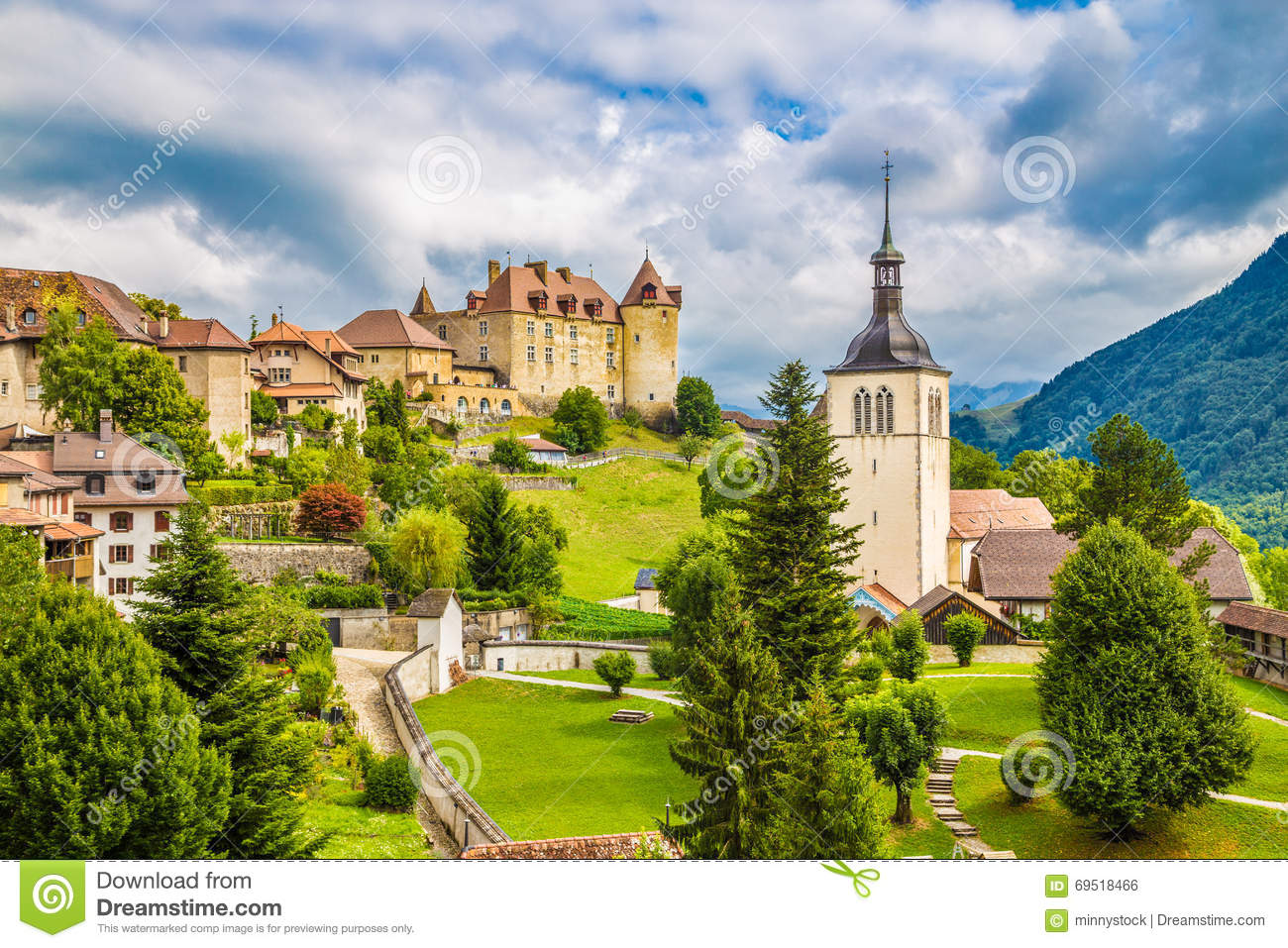 Medieval Town Of Gruyeres, Fribourg, Switzerland Stock Photo - Image ...