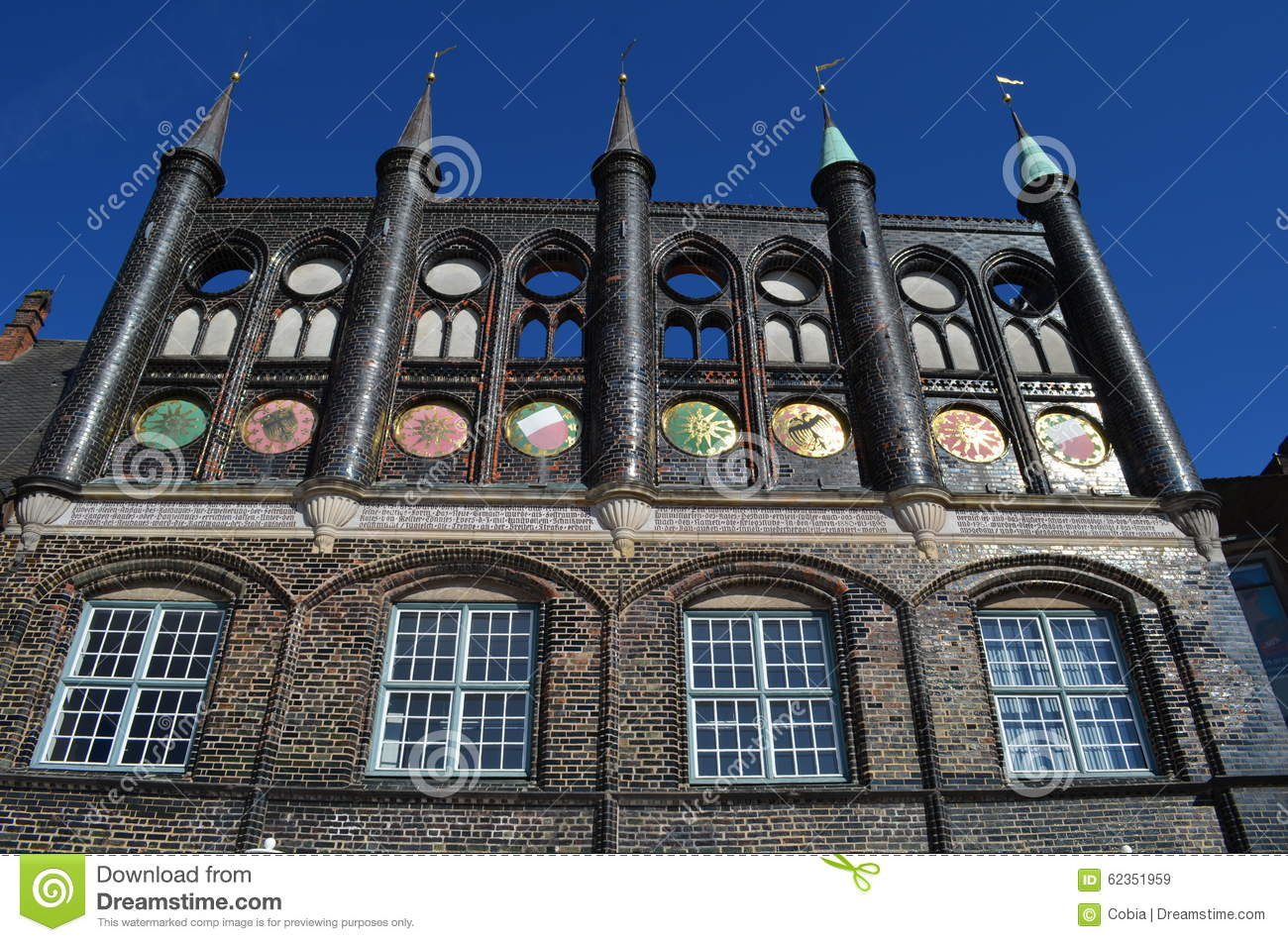 Design El Lã¼Beck | Medieval Town Hall Of The Hanseatic City Of La Beck Stock Image