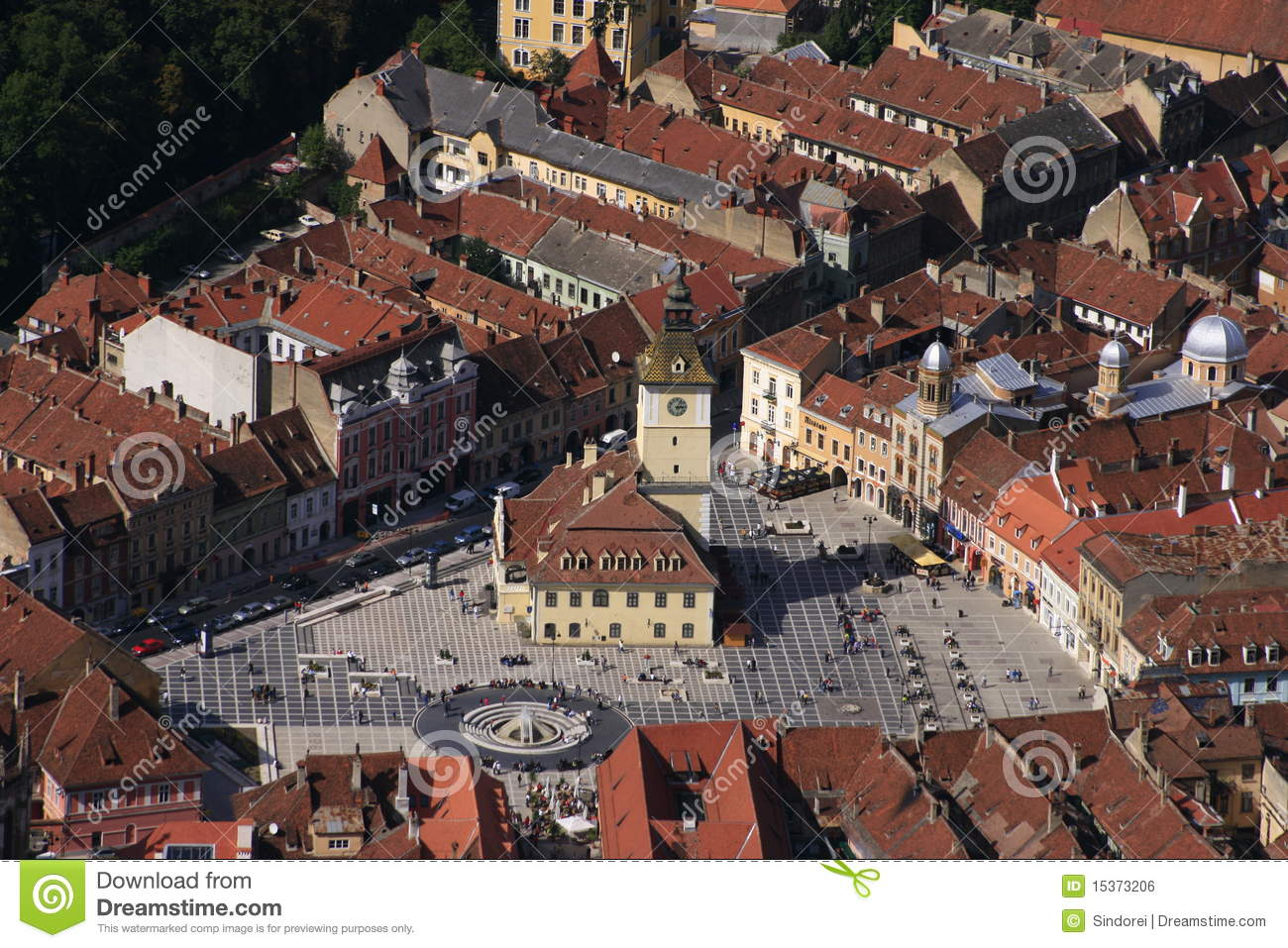 Medieval Town Square Stock Photo Image Of Clock
