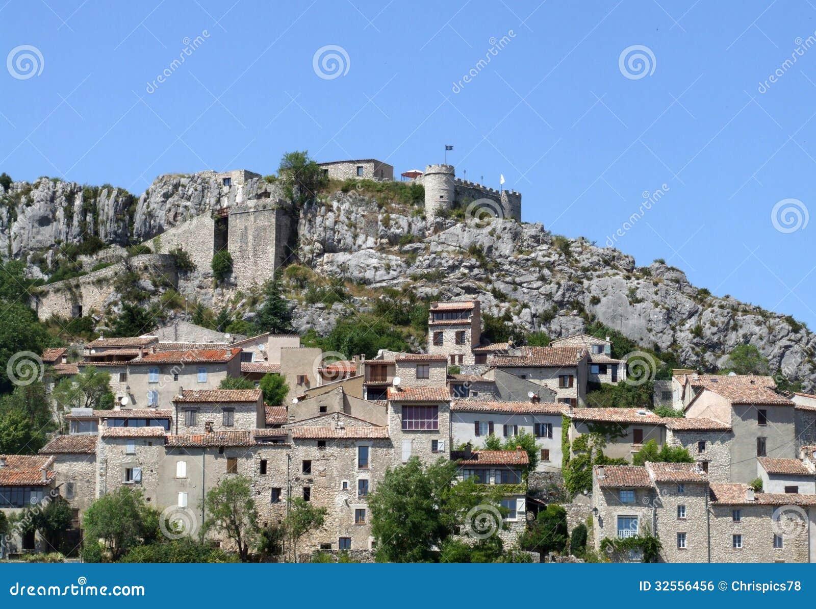medieval village with castle royalty free stock image image 32556456. Black Bedroom Furniture Sets. Home Design Ideas