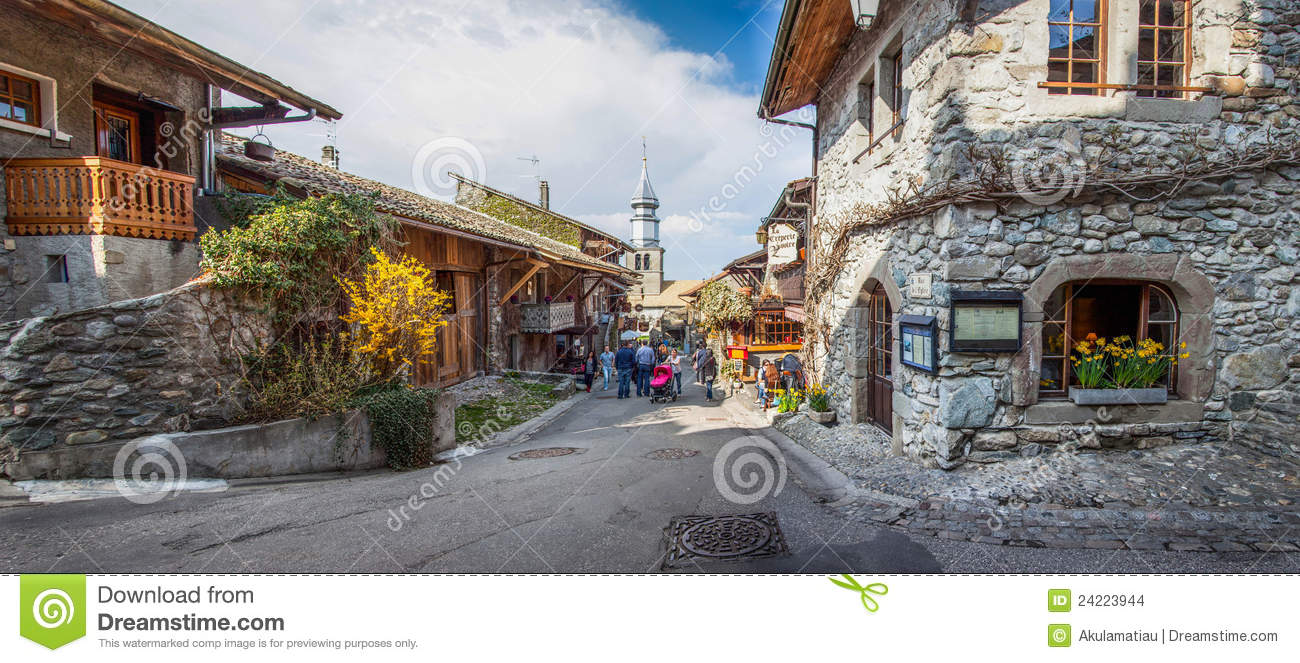 medieval village street view yvoire france editorial stock image image of built european. Black Bedroom Furniture Sets. Home Design Ideas
