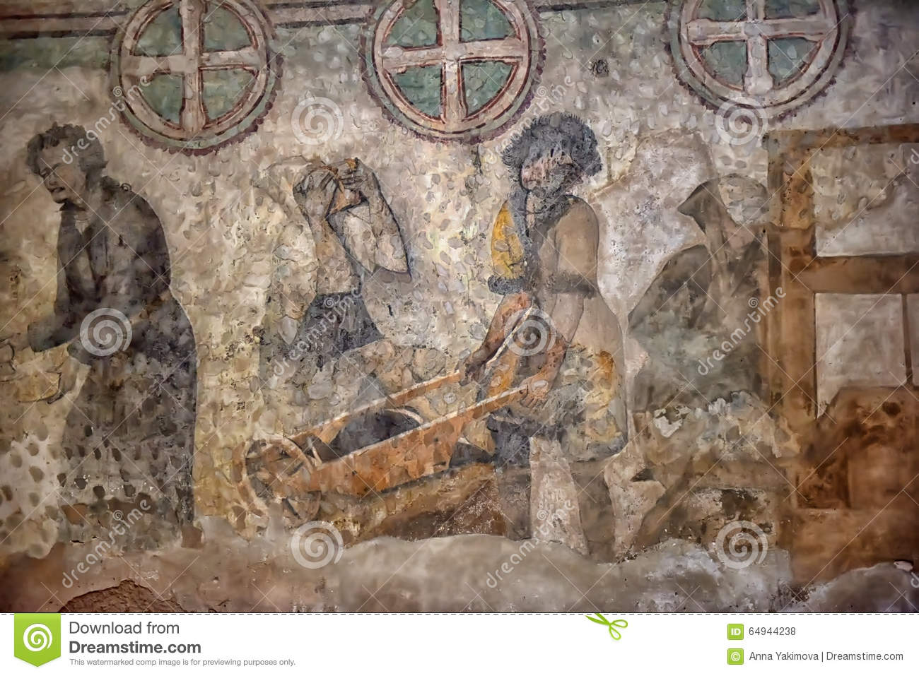 Medieval wall paintings in the church stock photo image 64944238 royalty free stock photo download medieval wall amipublicfo Image collections