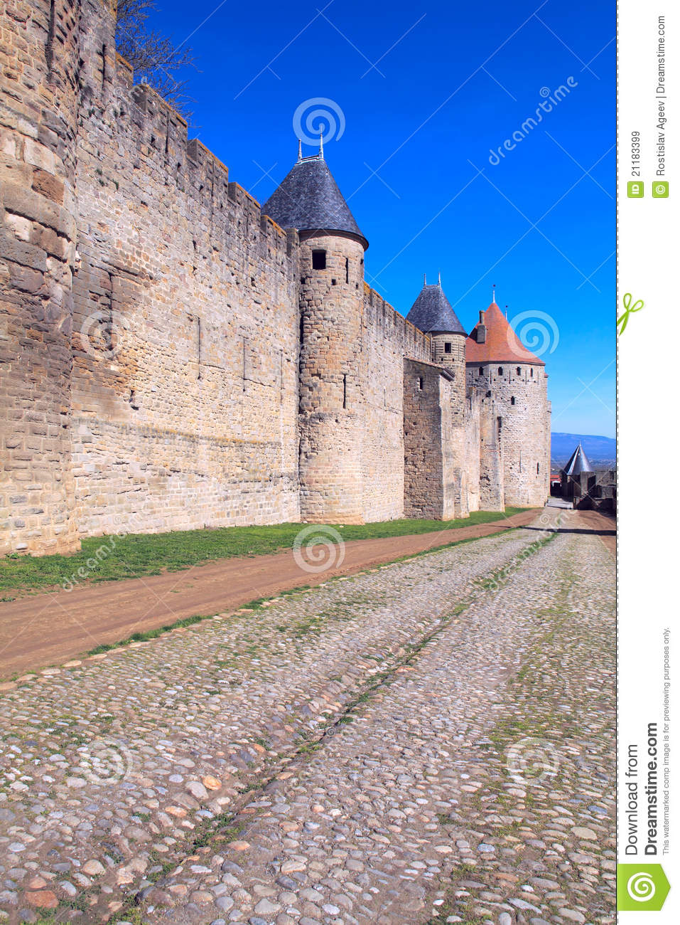 Medieval Walls and towers, city of Carcassonne