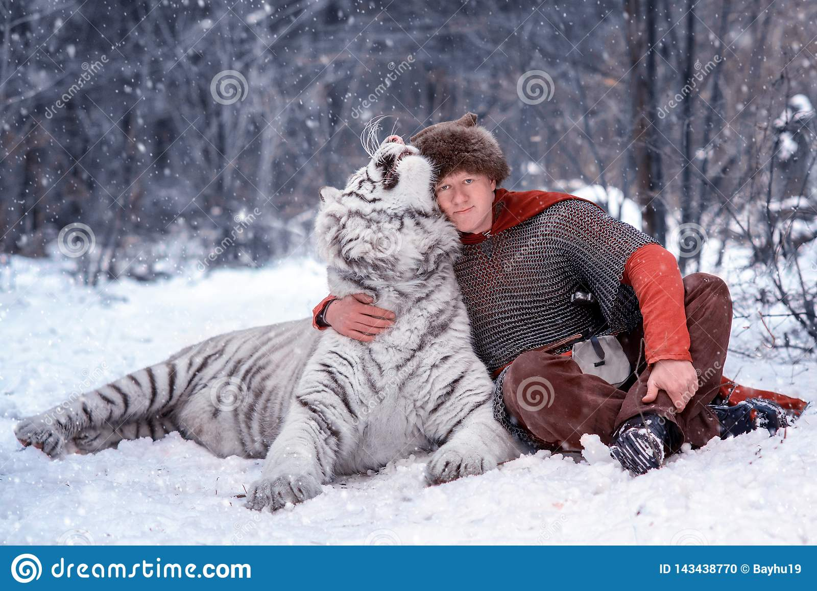 Medieval Warrior Hugs White Tiger Stock Photo Image Of