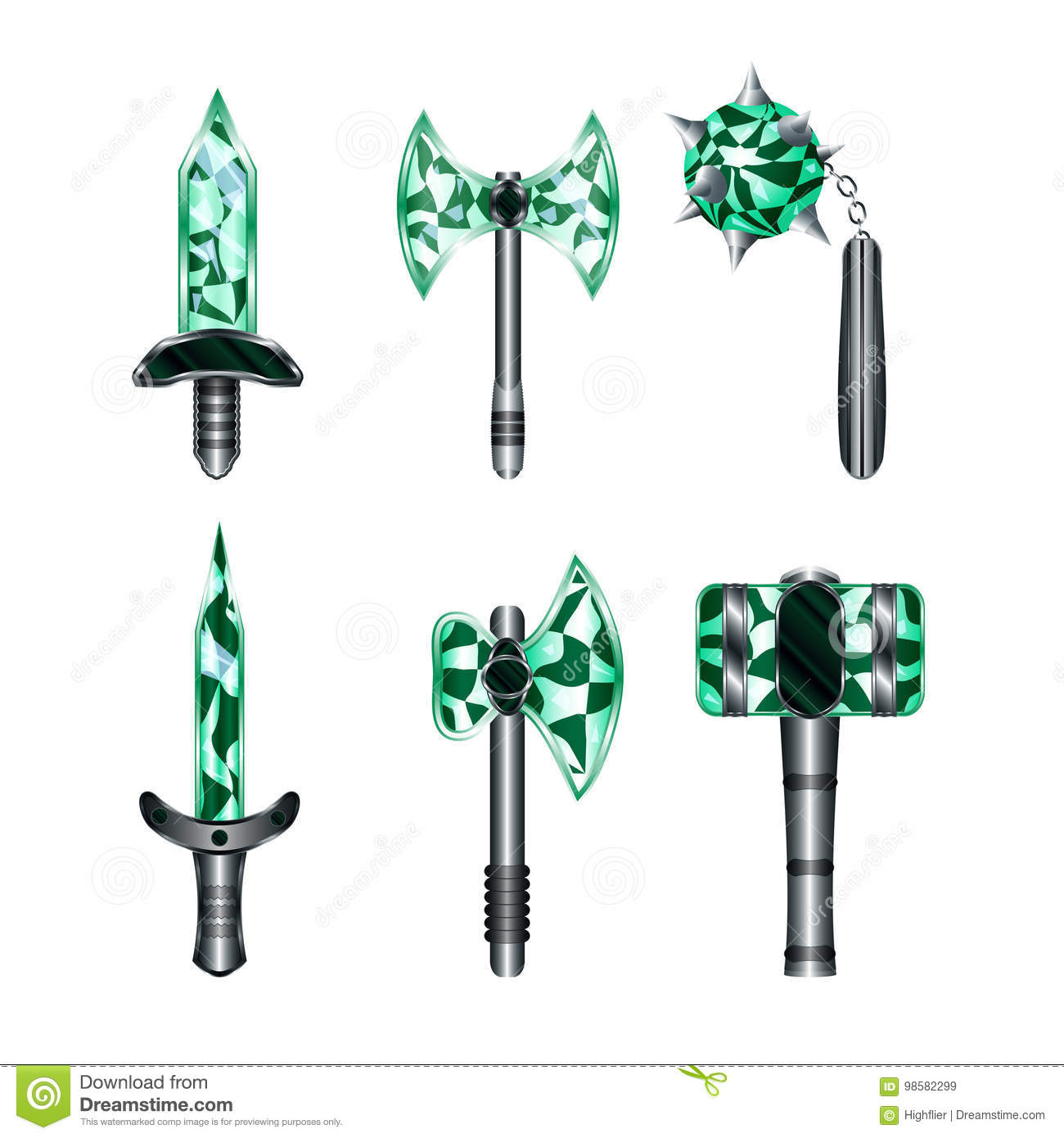 medieval weapon set stock vector illustration of emerald 98582299