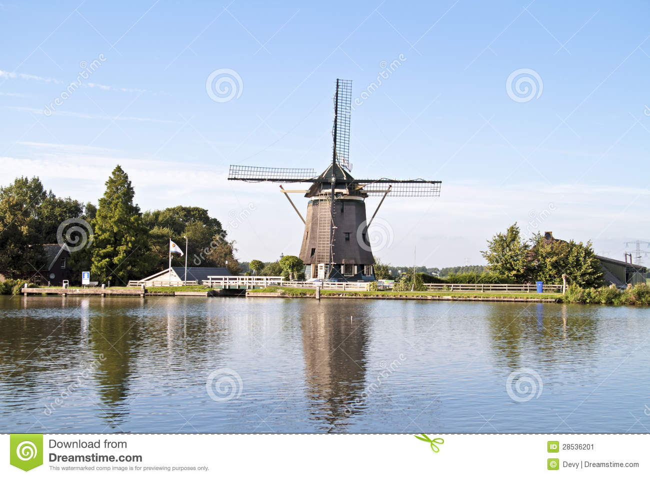 Medieval Windmill In The Countryside From Netherlands ...