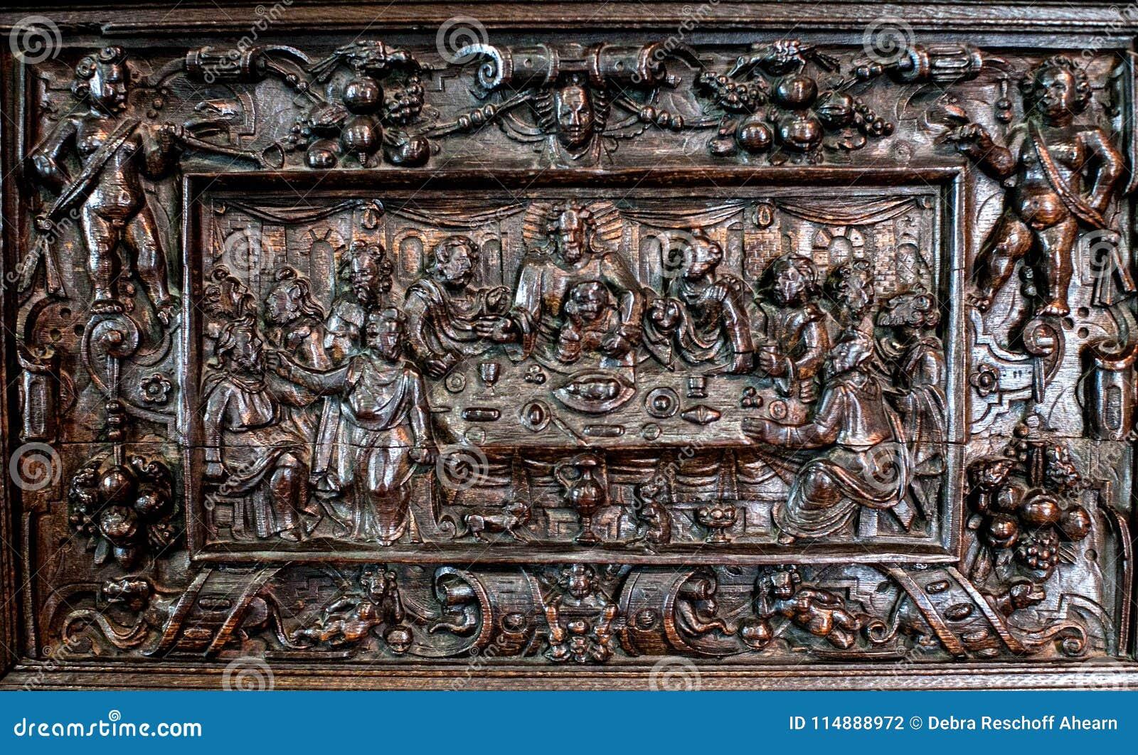Huge german carved wood last supper  inch eddy s