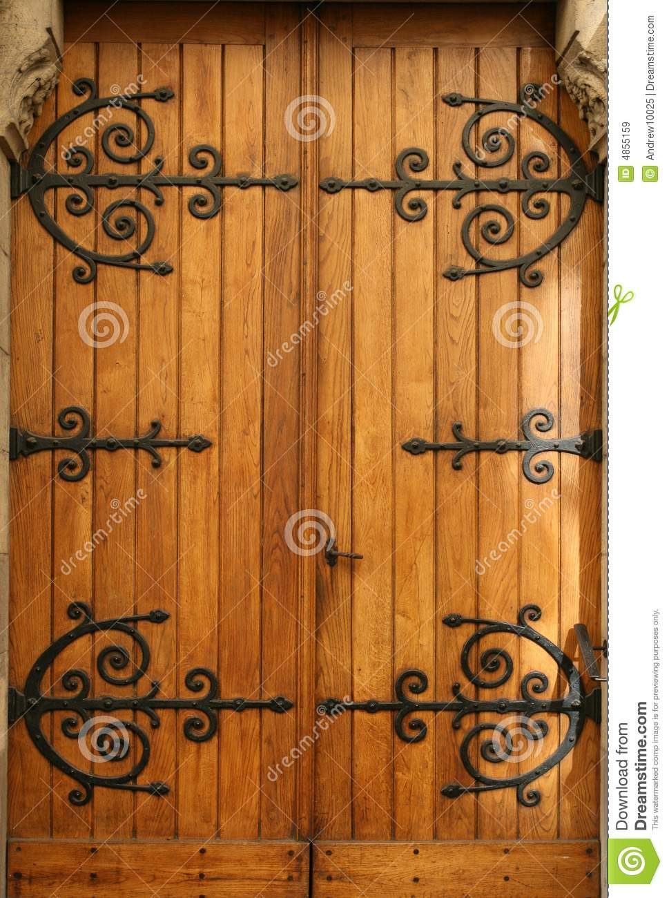 Medieval Wood Door Wrought Iron Details Stock Image