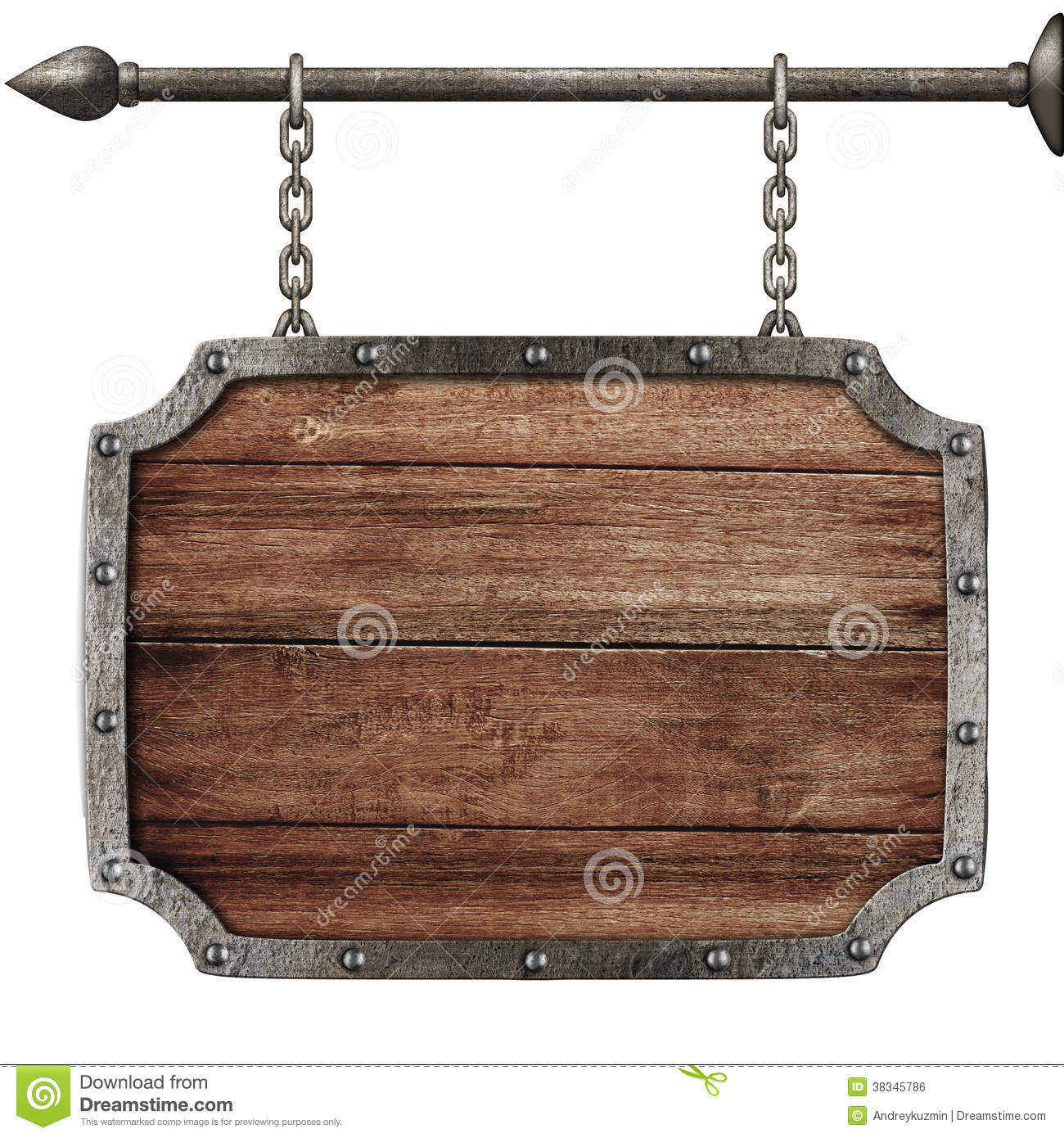 medieval wood sign hanging on chains isolated stock photo. Black Bedroom Furniture Sets. Home Design Ideas