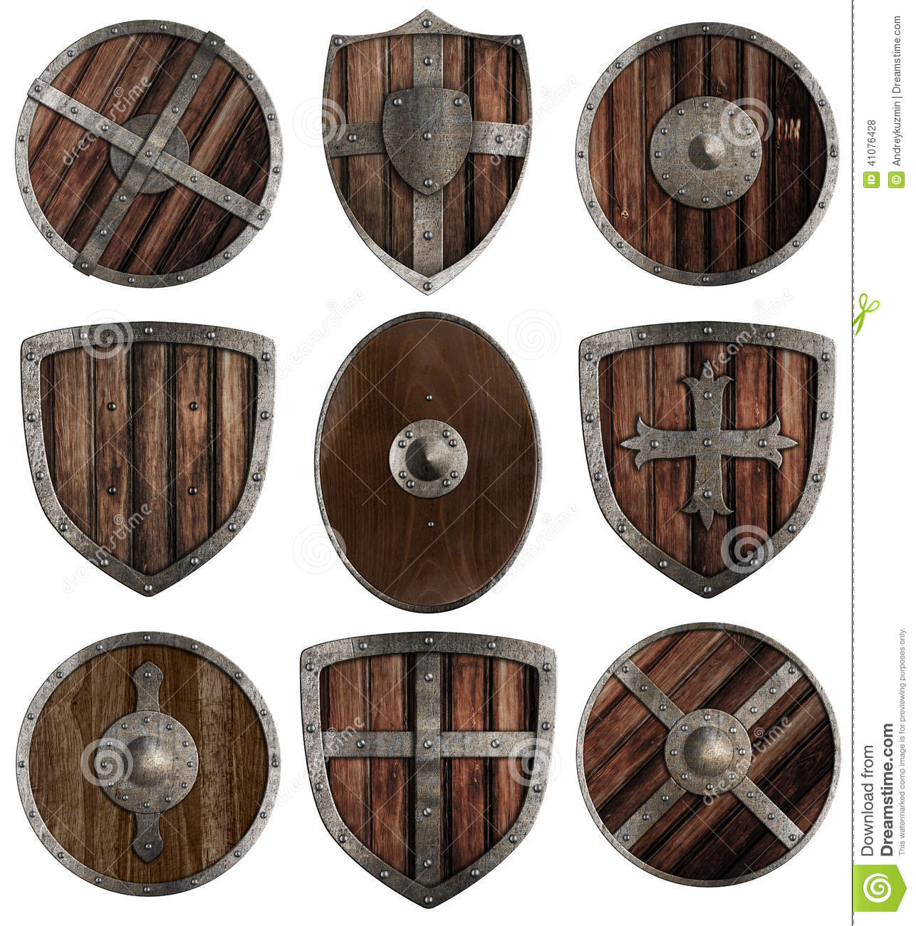 Old wood chair texture - Medieval Wooden Shields Collection Isolated Stock Photo