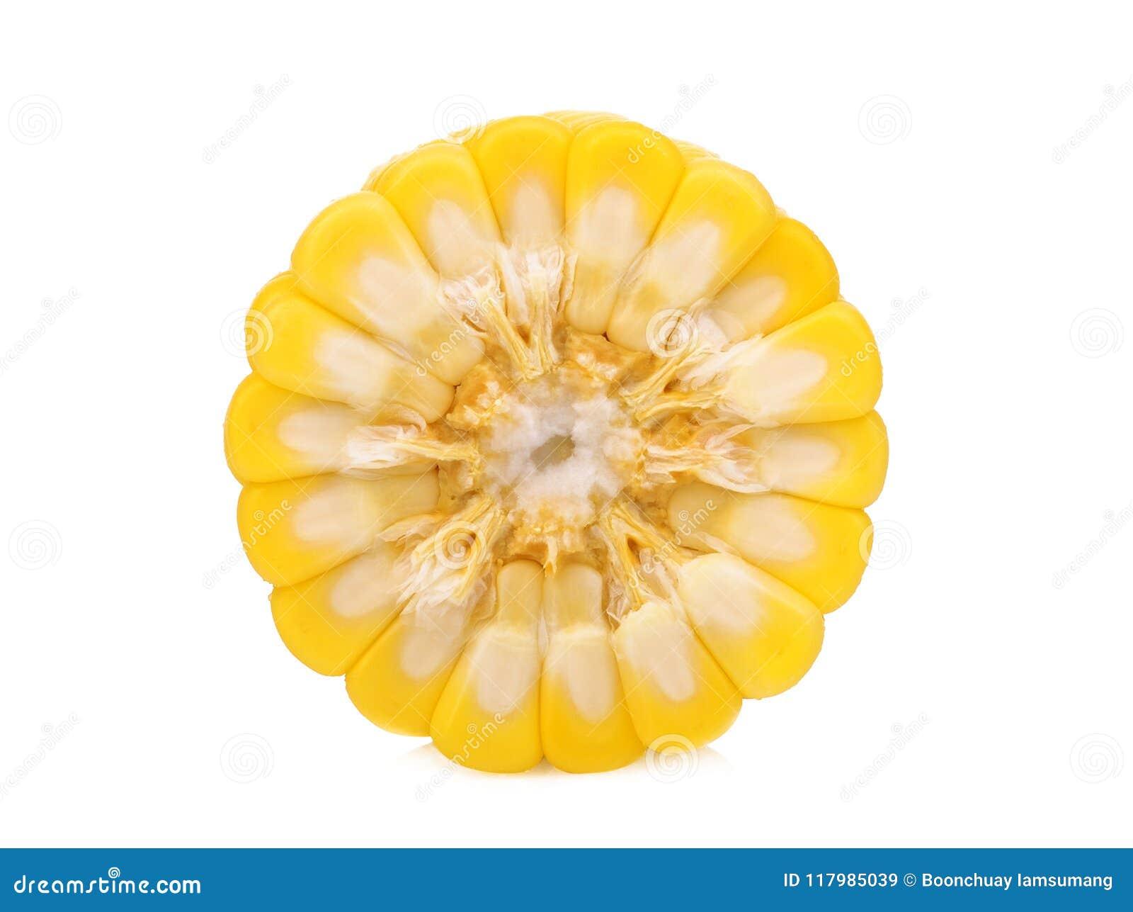 Medio corte del maíz crudo aislado en blanco