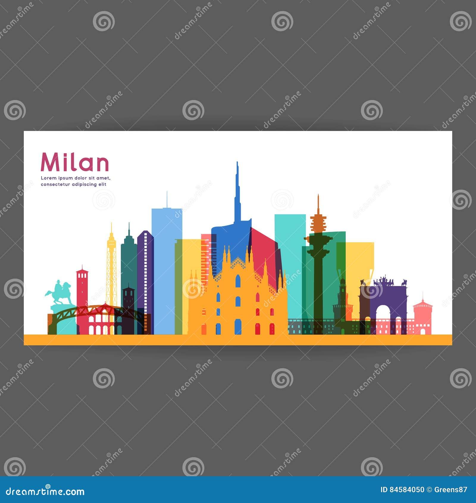 Mediolańska kolorowa architektury ilustracja