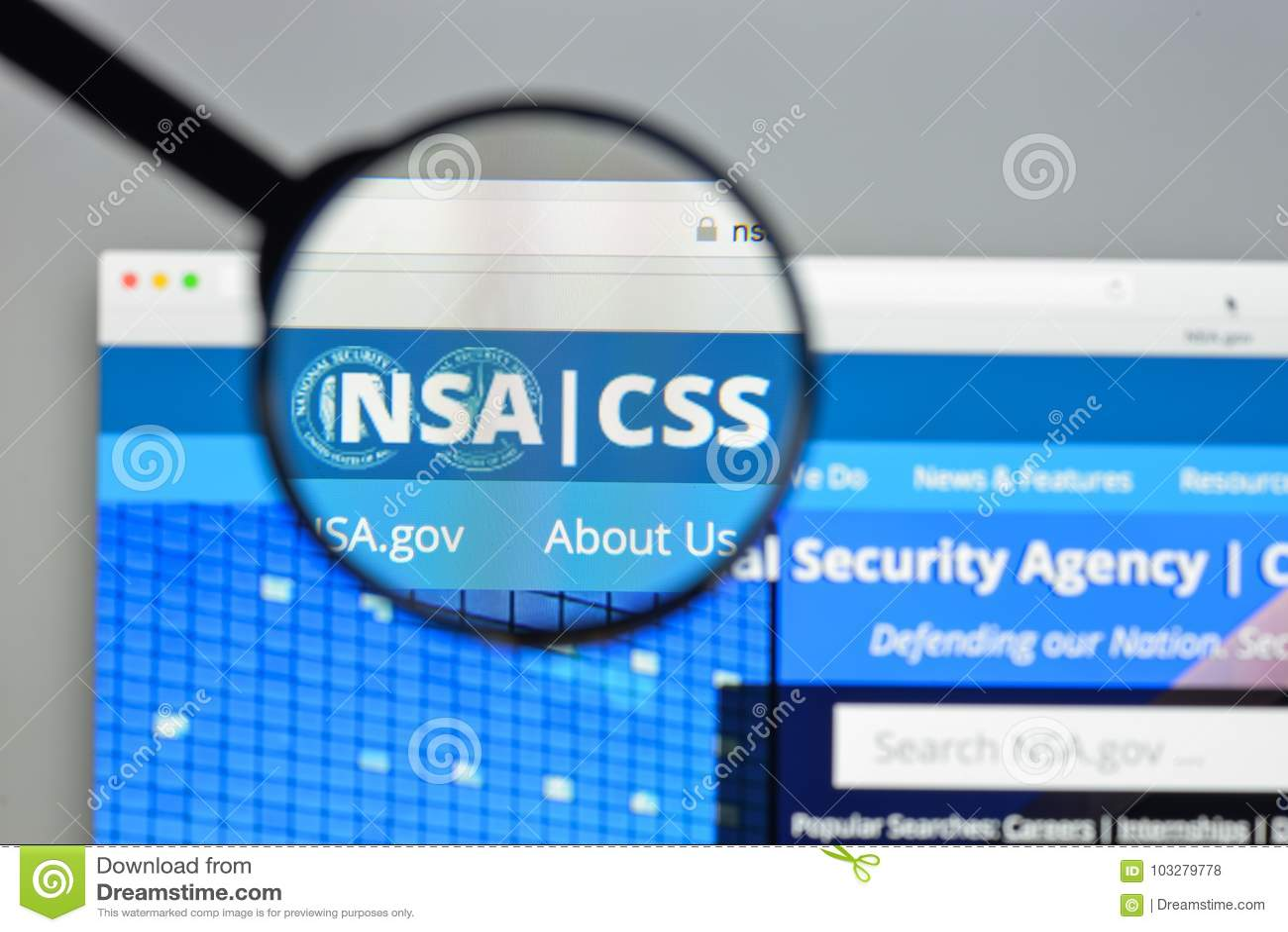 Mediolan Włochy, Sierpień, - 10, 2017: NSA strony internetowej homepage Ja nationa