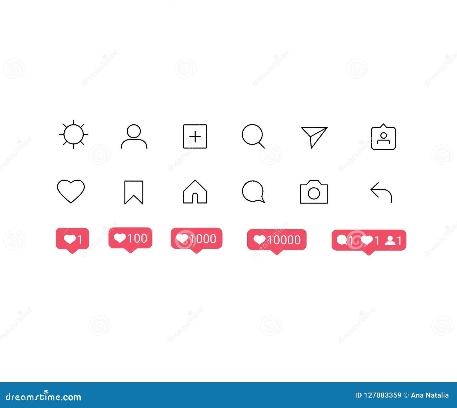 Medios botones sociales del interfaz de Instagram, iconos: hogar, cámara, comentario, búsqueda, cámara de la foto, corazón, como,