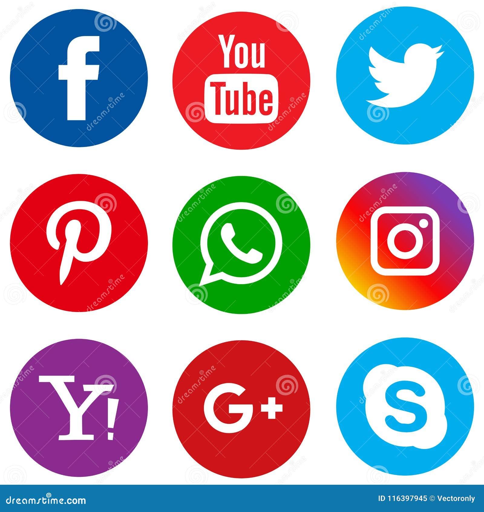 Medios círculo fijado iconos sociales populares
