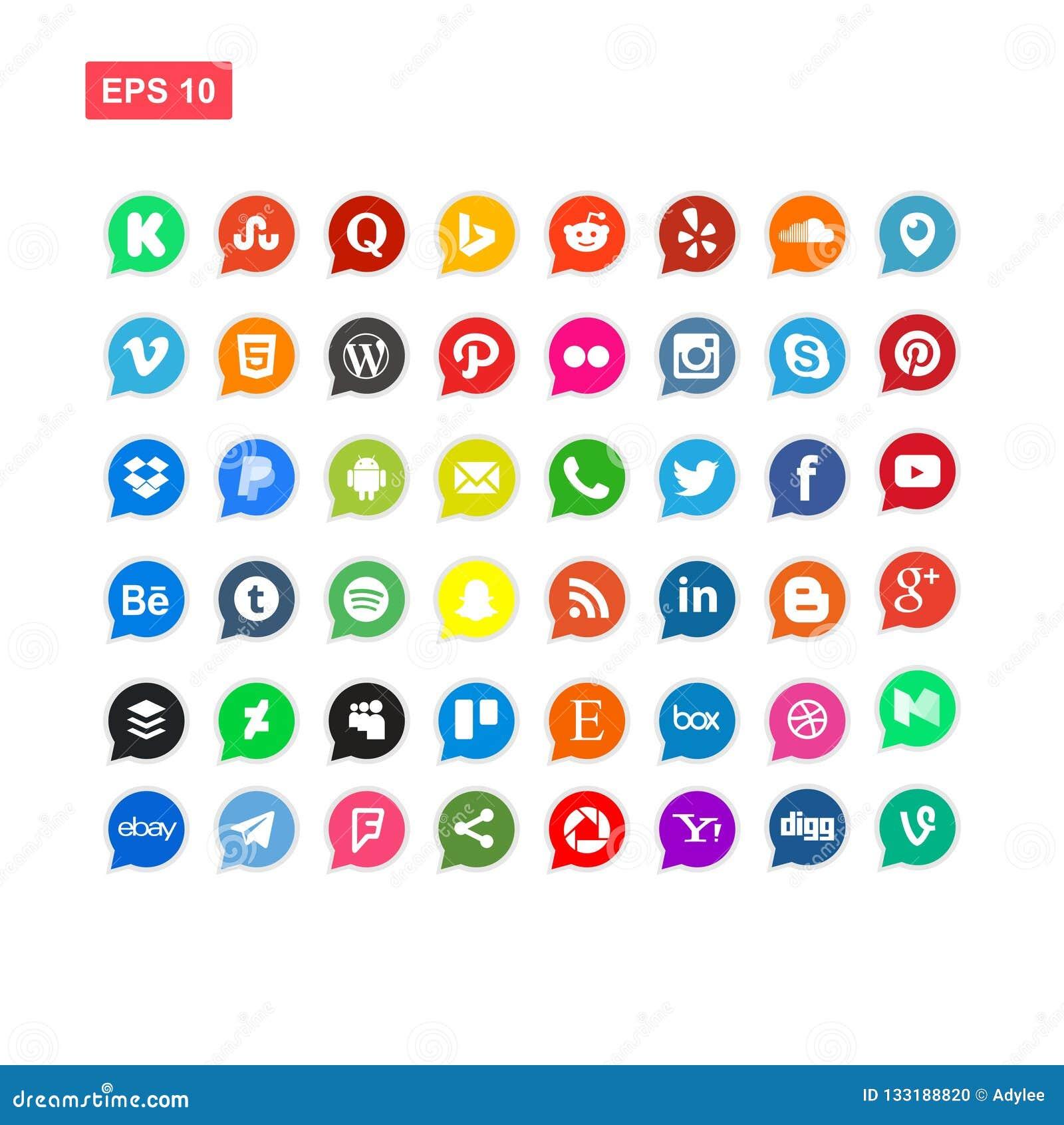 48 medios de Sosial y el vector del icono de la red aislaron