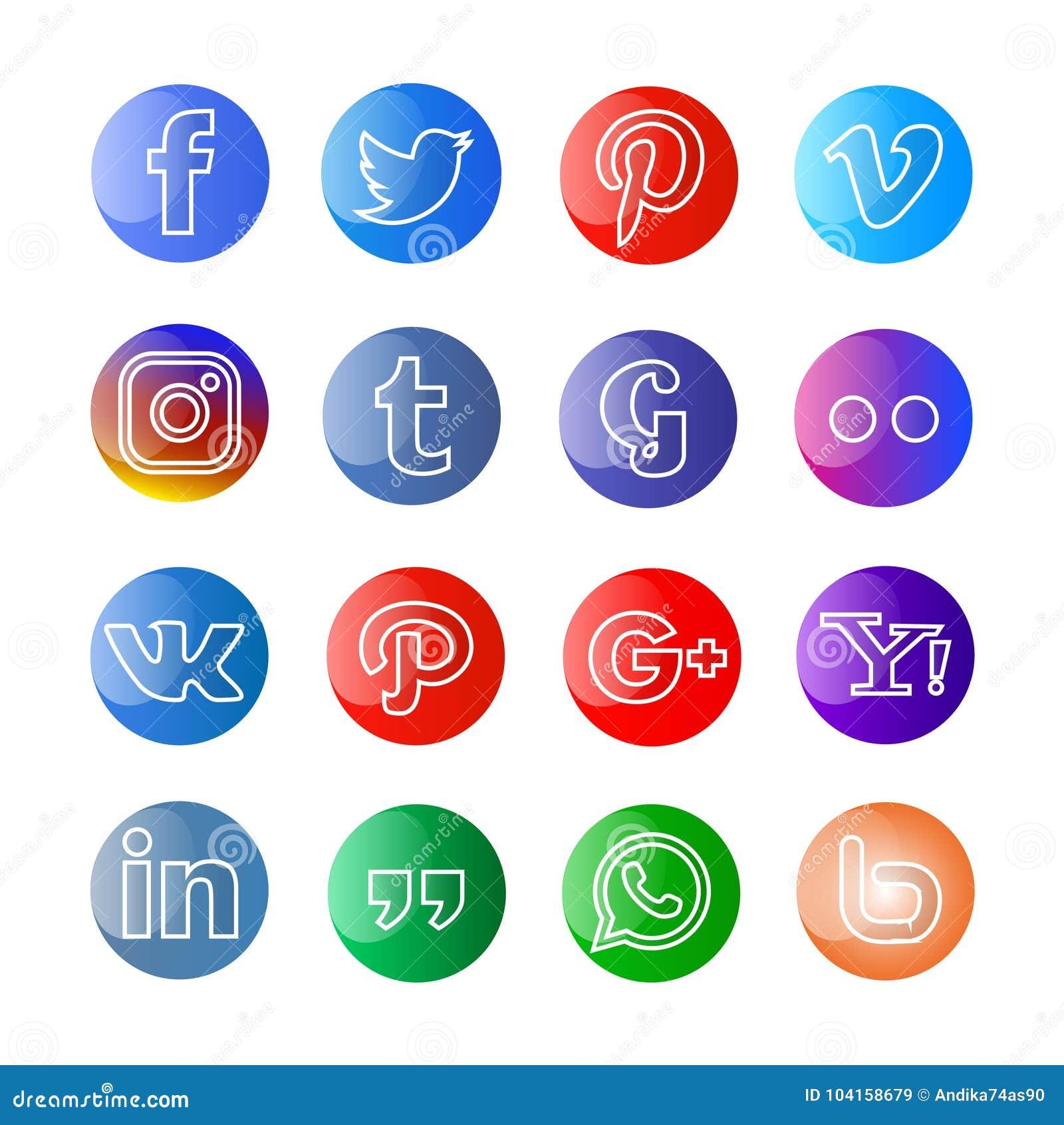 Medios icono y botones sociales brillantes