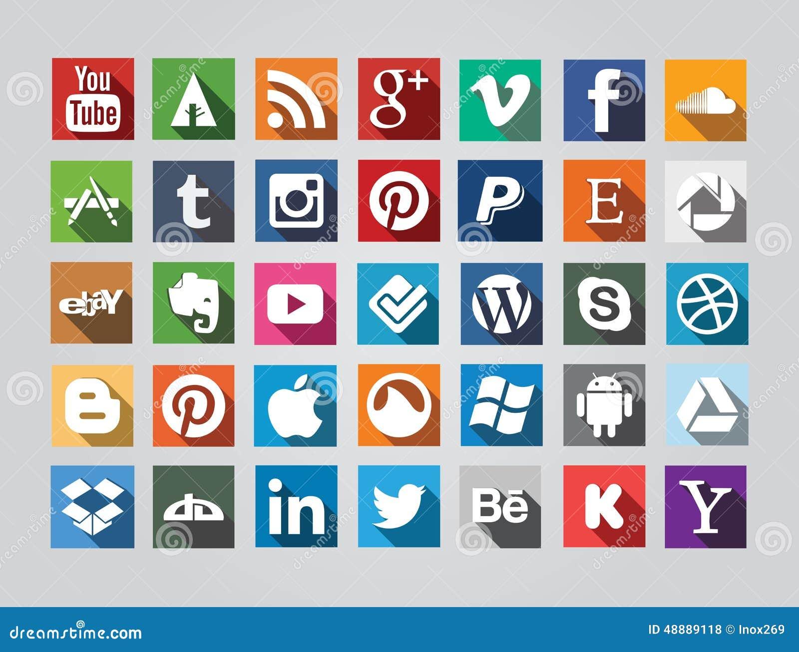Medios Iconos Sociales Cuadrados Foto De Archivo Editorial