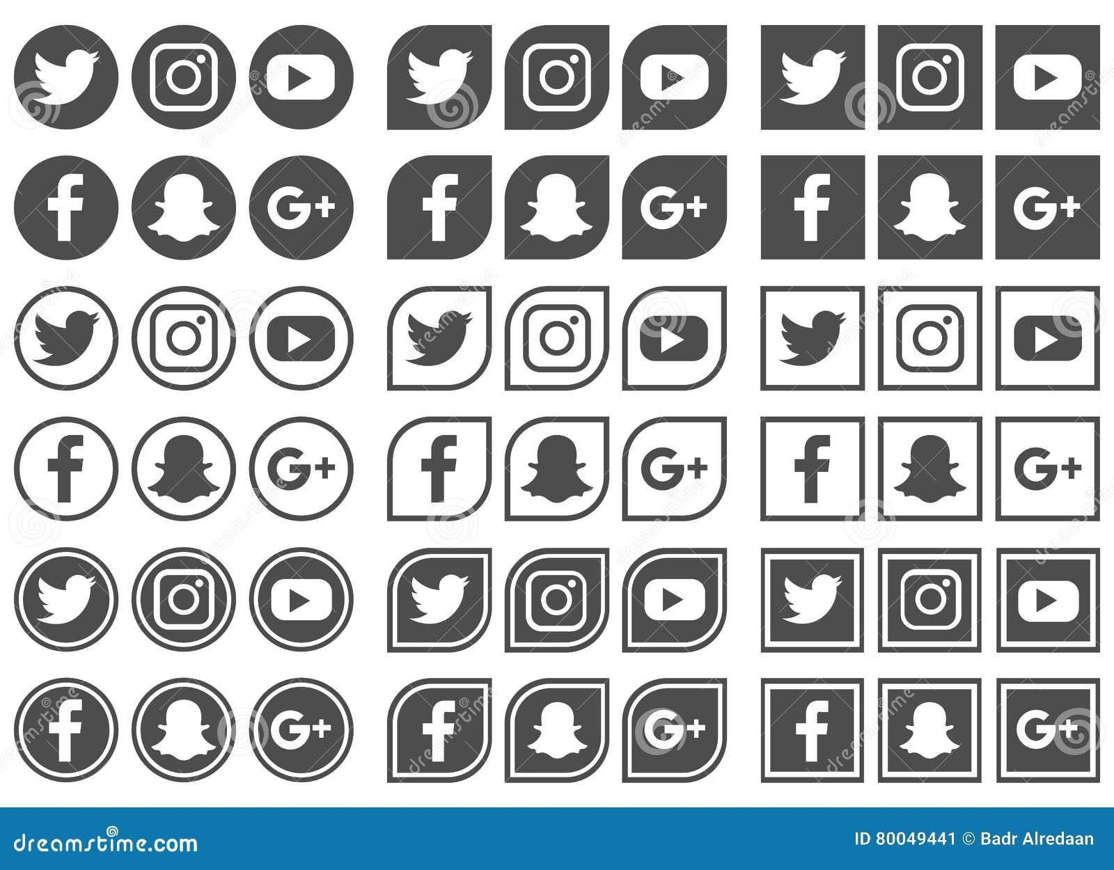 Medios iconos sociales - ejemplo del vector