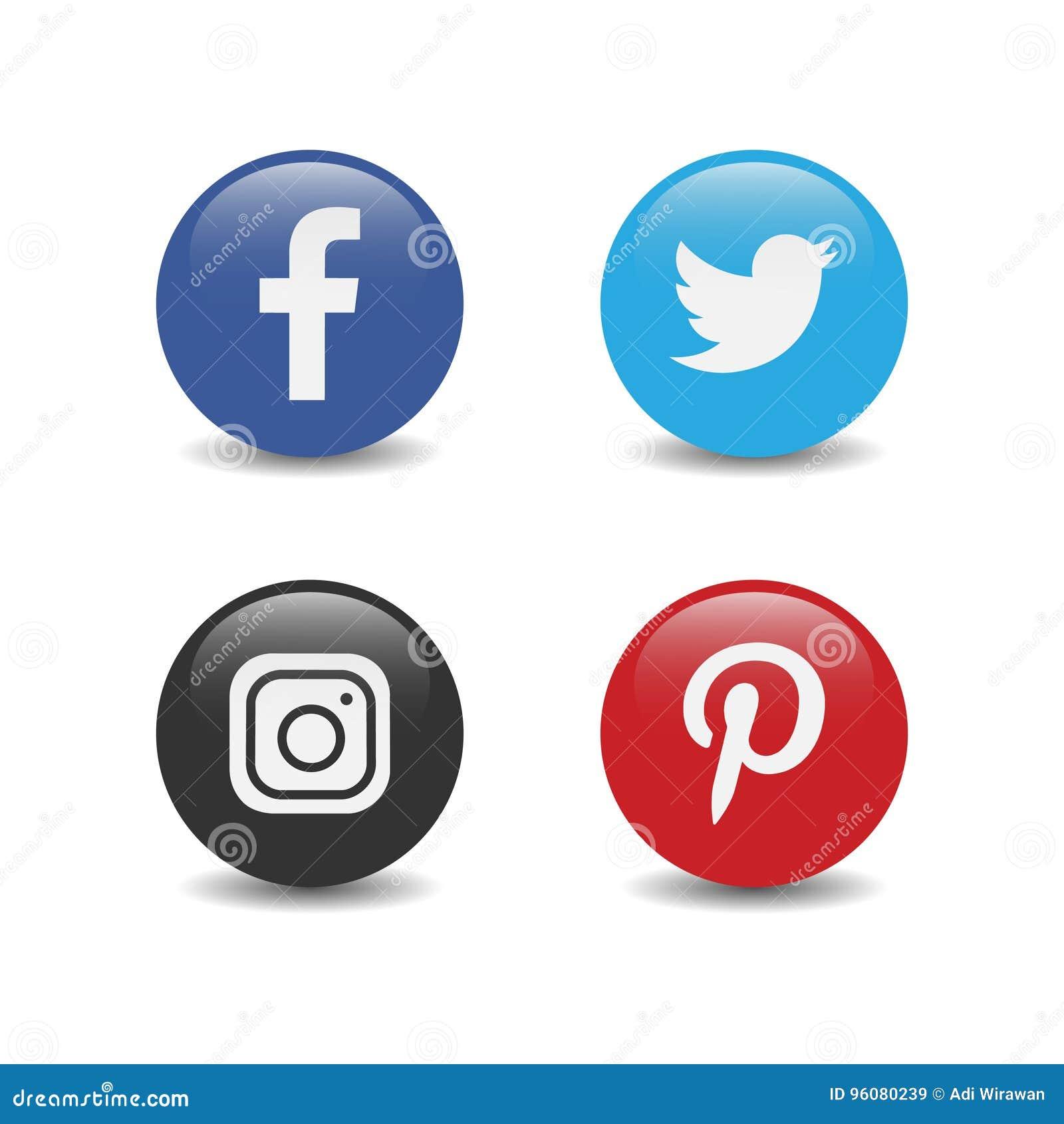 Medios logotipo brillante social popular redondo instagram del gorjeo del facebook más pinterest