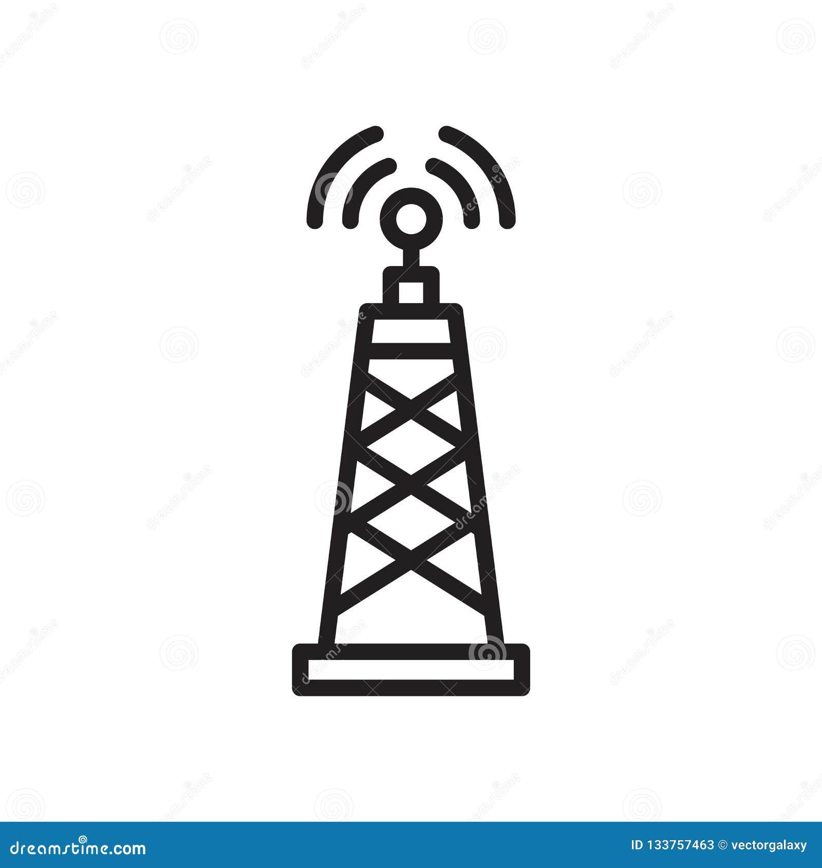 Medios muestra y símbolo del vector del icono de la torre de la señal aislados en el fondo blanco, medios concepto del logotipo d
