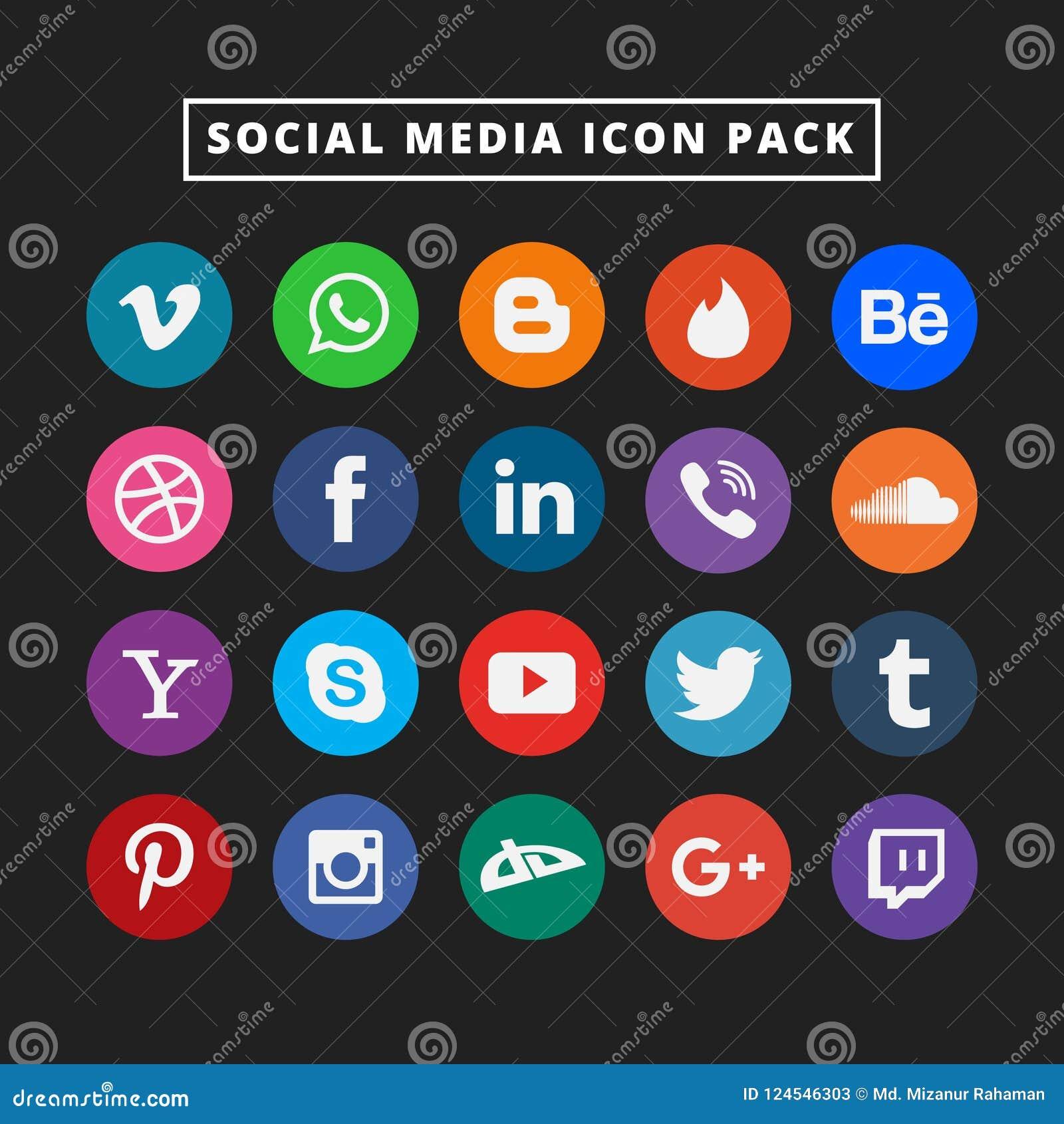 Medios sistema social colorido del icono Icono plano del diseño del vector para el web Ejemplo asombroso