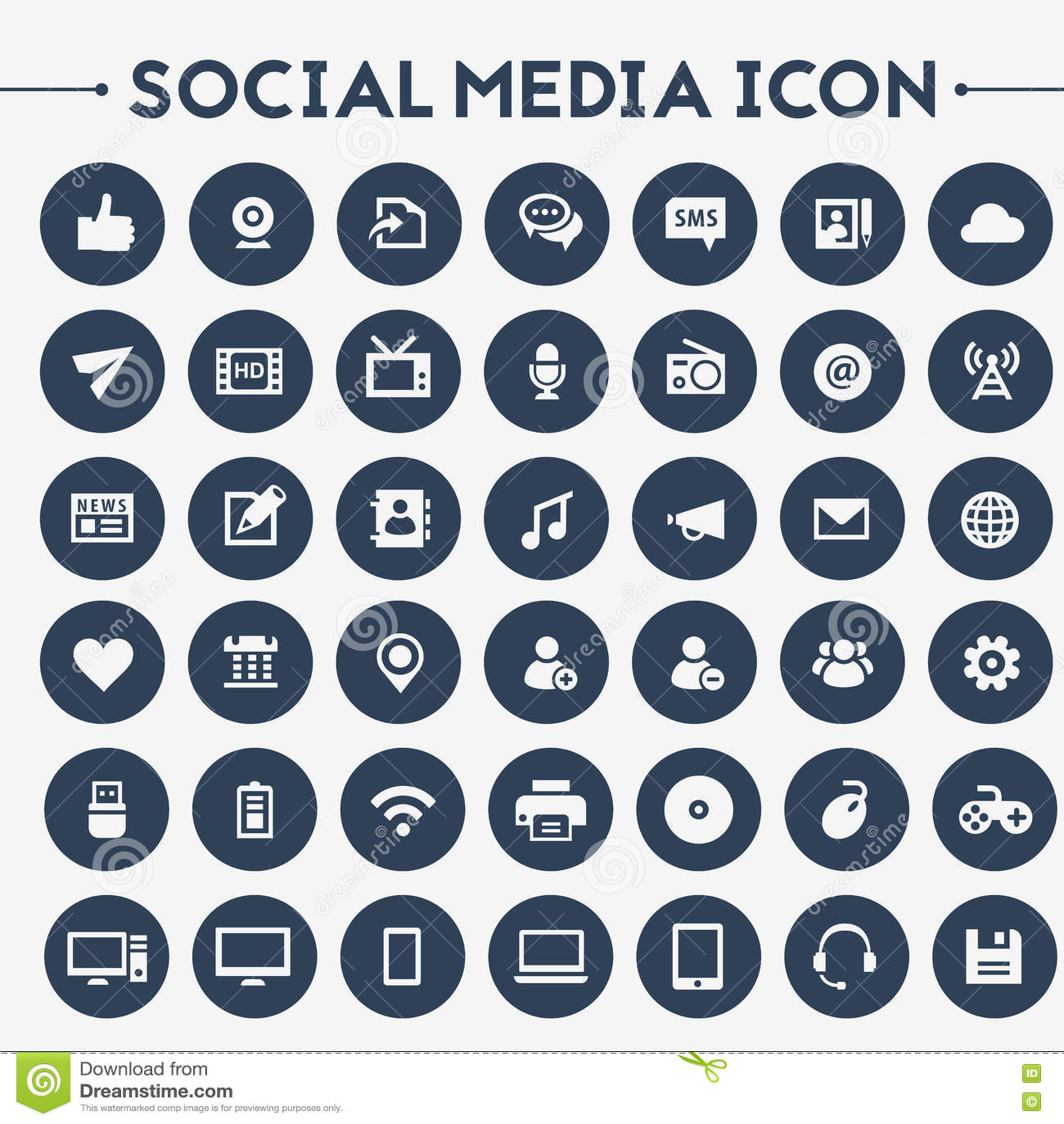 Medios sistema social grande del icono
