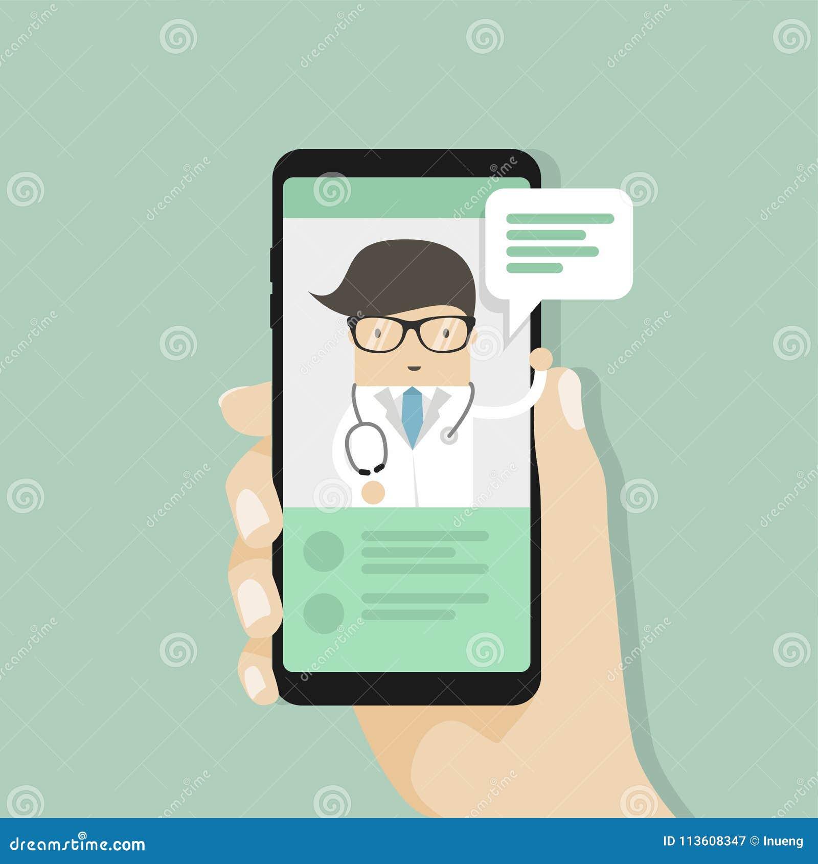 Medique a consulta médica em linha, bate-papo vivo com doutor, serviço sanitário do Internet