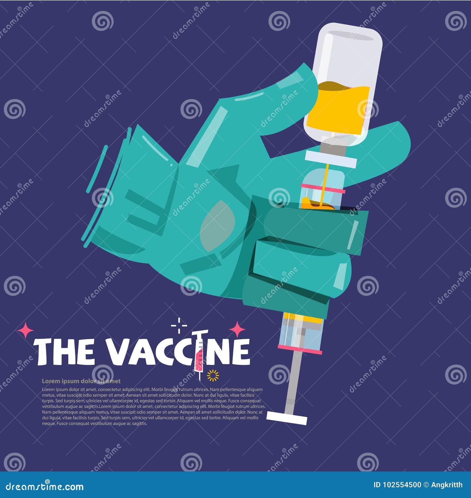 Medique a mão que guarda a seringa com o tubo de ensaio da medicamentação engodo vacinal