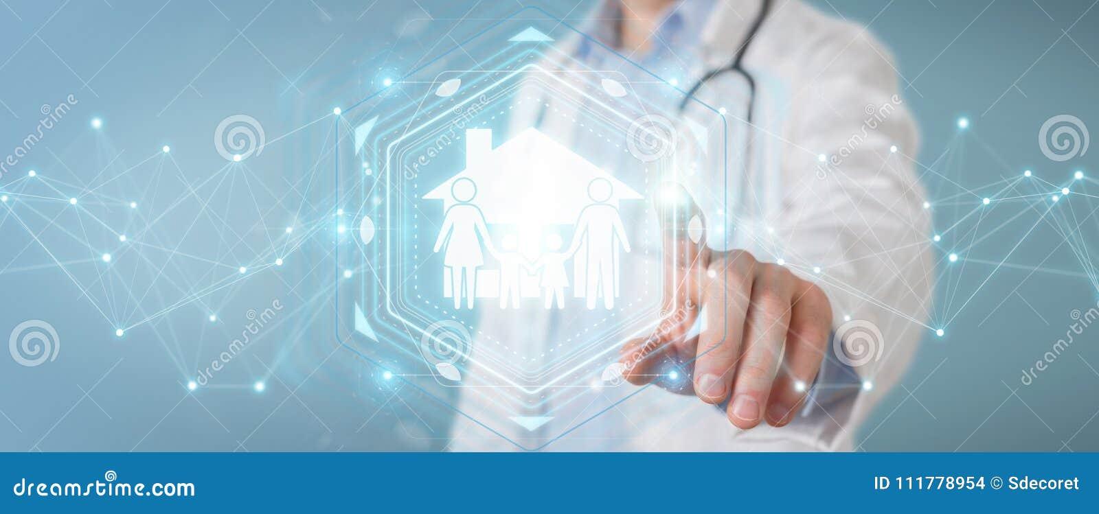 Medique usando a rendição digital da relação 3D do cuidado da família