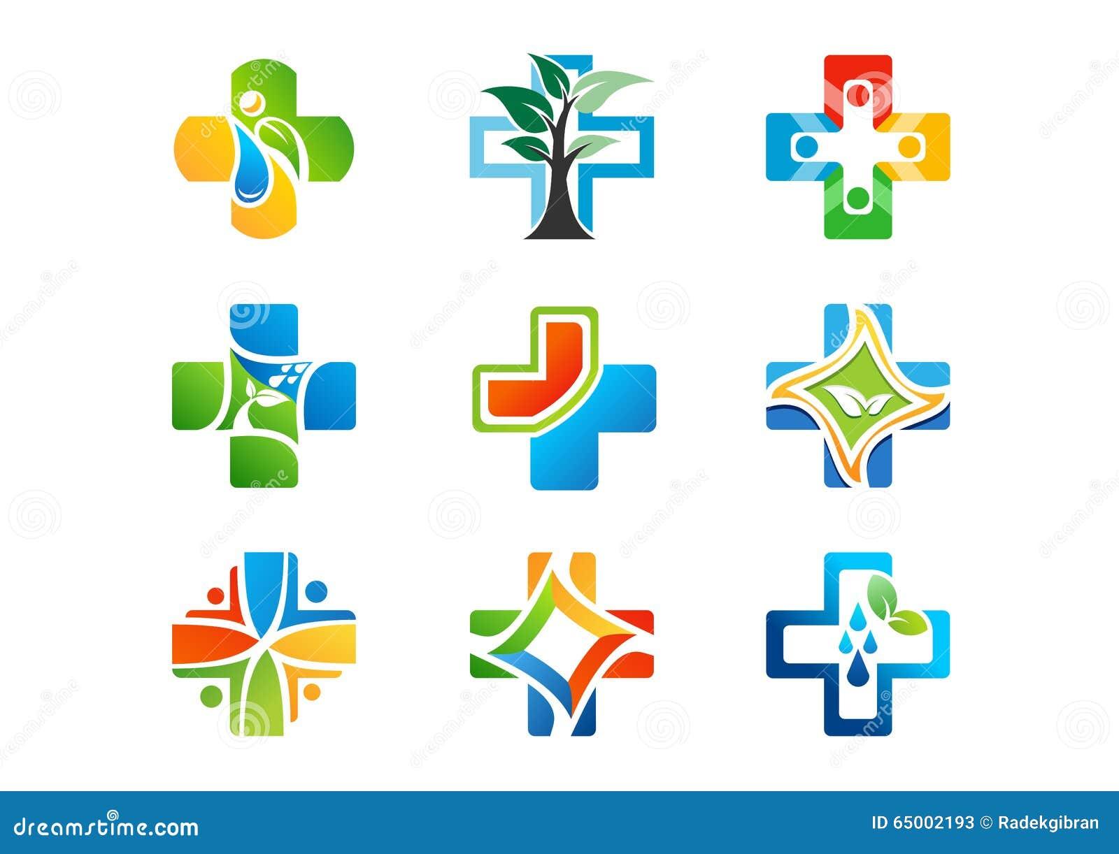 Medisch apotheekembleem, gezondheidsgeneeskunde plus pictogrammen, reeks van vectorontwerp van het symbool het natuurlijke kruid