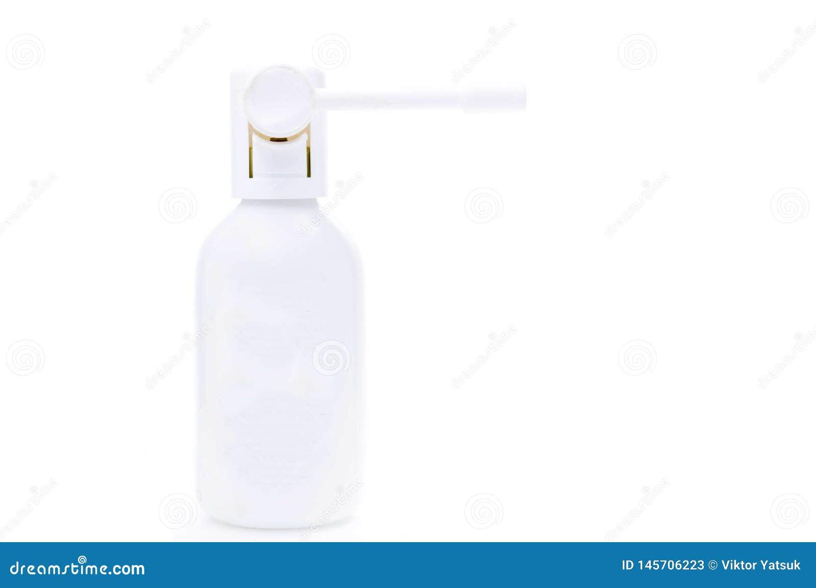 Medisch inhaleertoestel Fles met inhaleertoestel Nevel voor de keel Witte kruik op een witte achtergrond