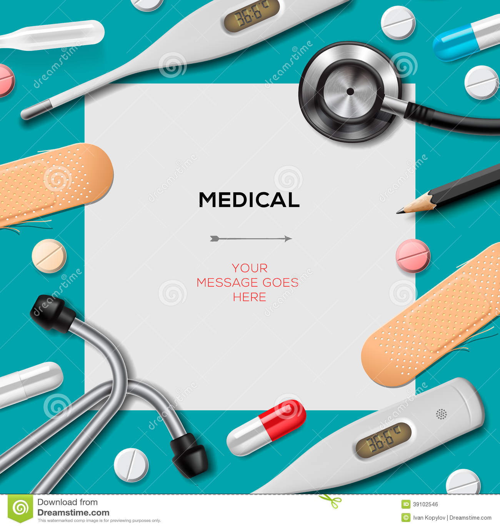 Medisch malplaatje met geneeskundemateriaal