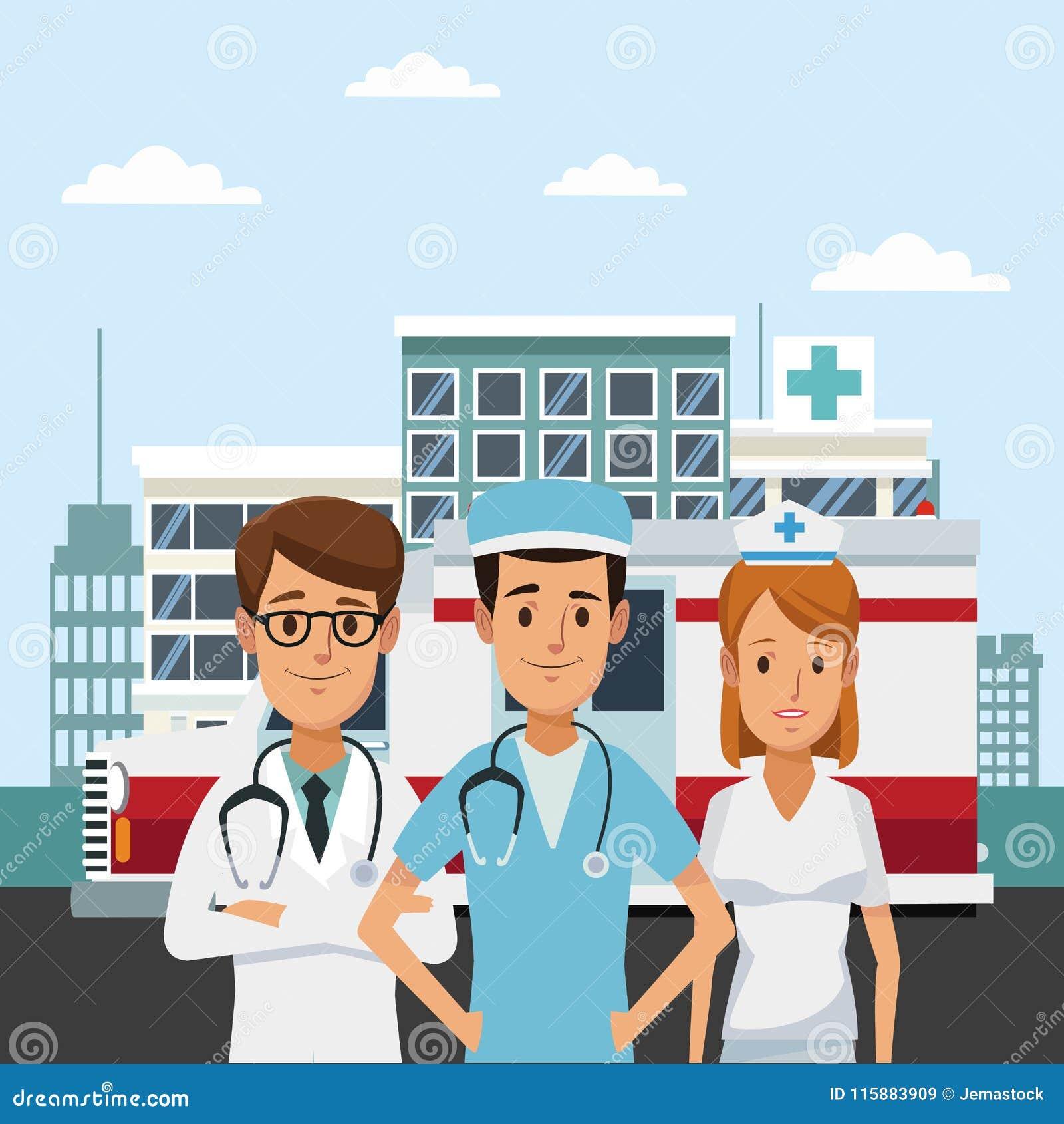 Medisch team bij het ziekenhuis