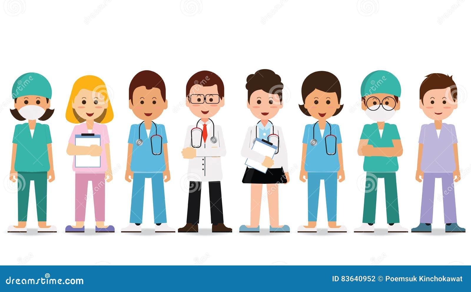 Medisch team dat op wit wordt geïsoleerdi
