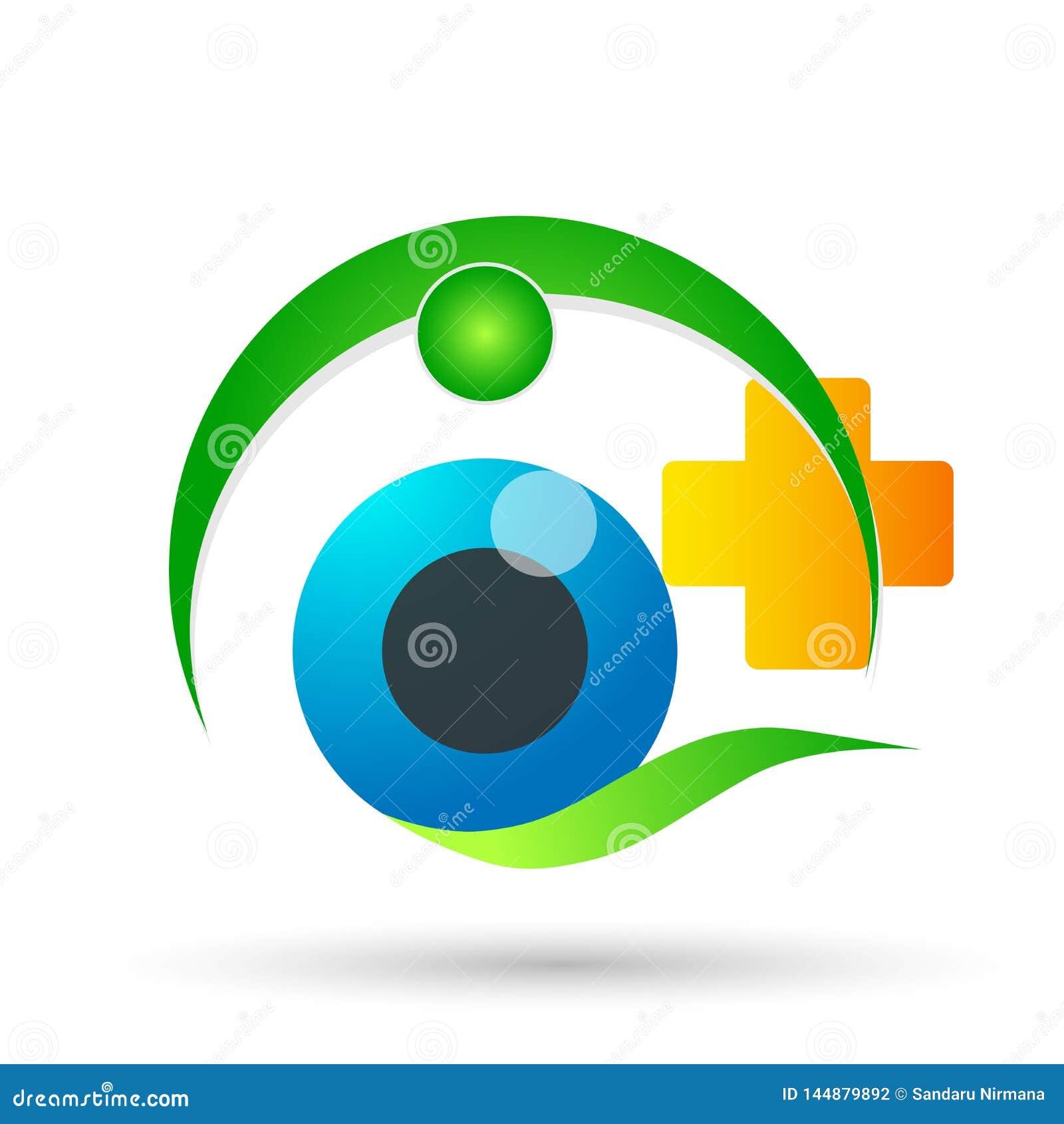 Medisch van de de bolfamilie van de oogzorg van het de gezondheidsconcept van het het embleempictogram het elemententeken op witt