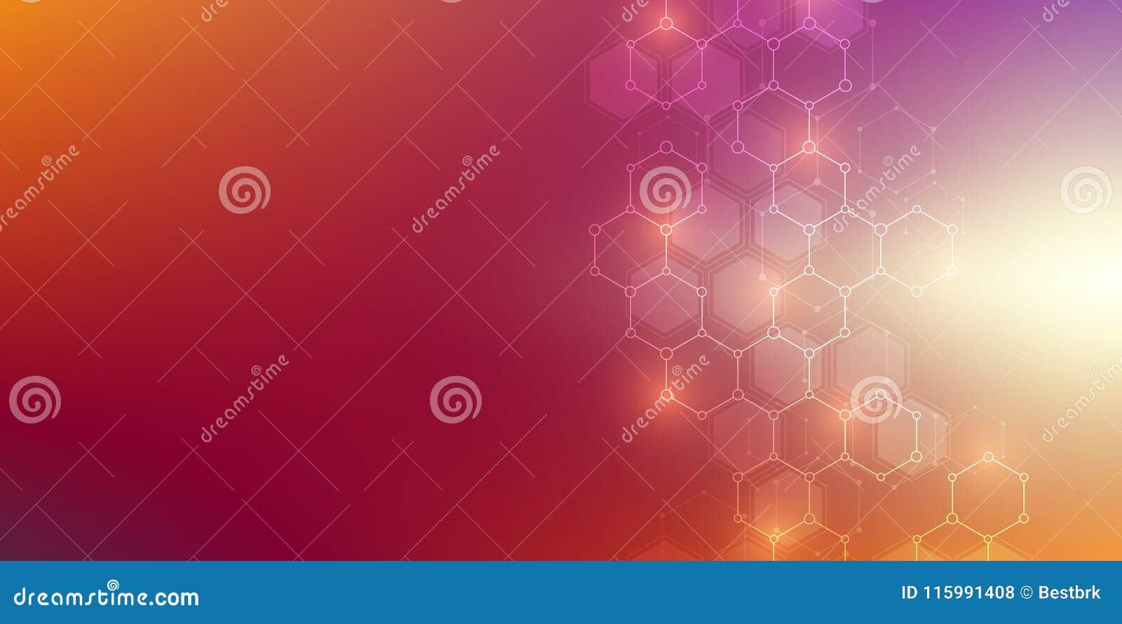 Medisch vectorontwerp als achtergrond of wetenschaps Moleculaire structuur en chemische samenstellingen Geometrisch en veelhoekig