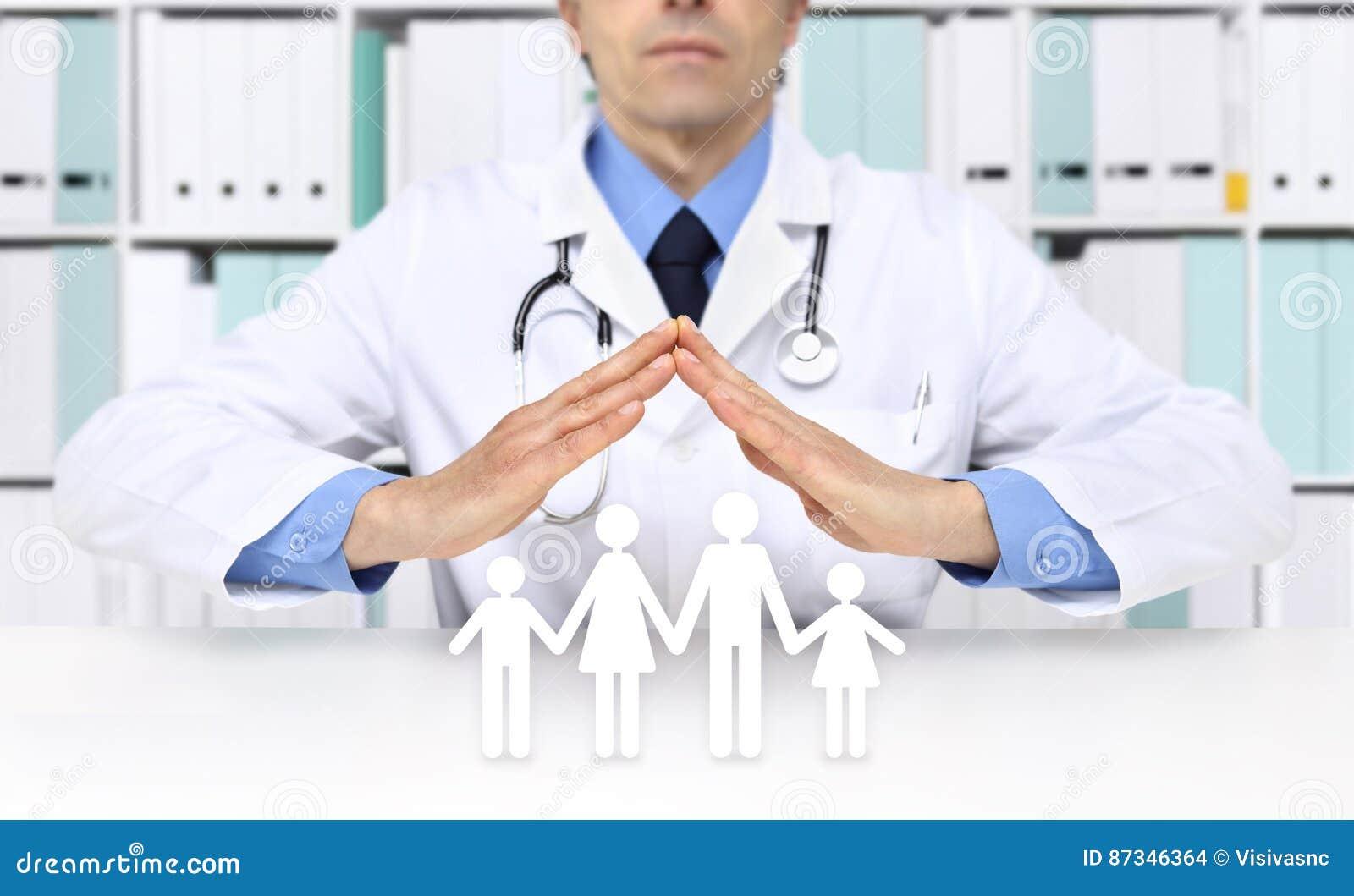 Medisch ziektekostenverzekeringconcept, artsenhanden met familiepictogrammen