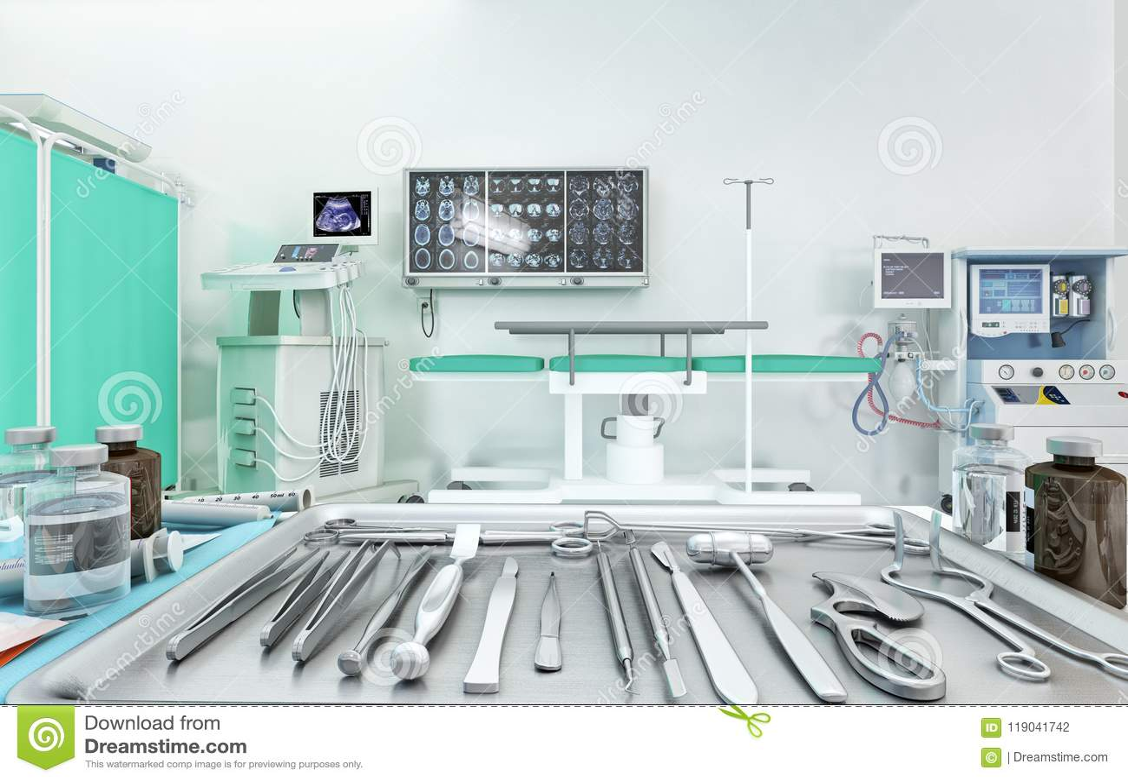 Medische apparatuur, apparaten in moderne werkende ruimte 3D Illustratie