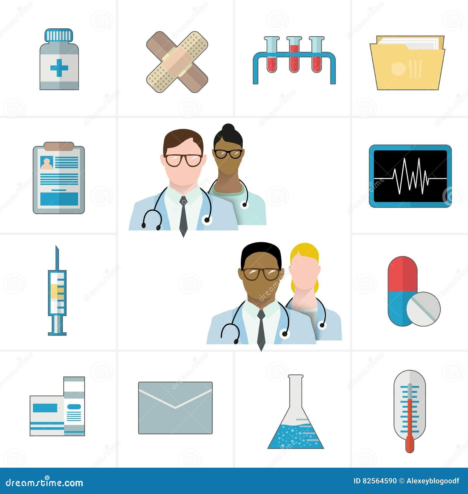 Medische en geneesmiddel of pharmapictogrammen Thermometer, tabletten en pillen, drug, cardiogram, spuit, omslag en documenten