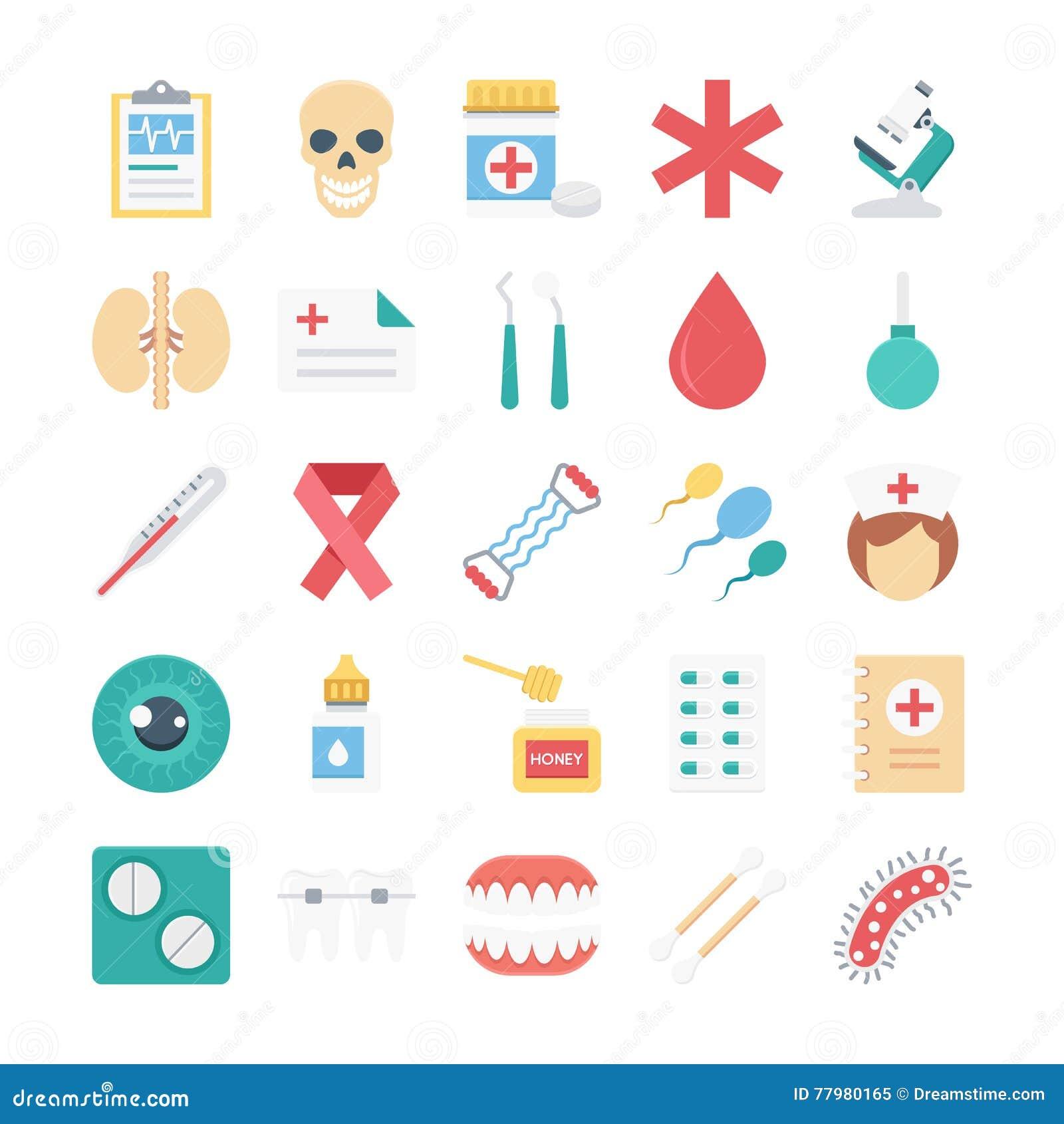 Medische en Gezondheid Gekleurde Vectorpictogrammen