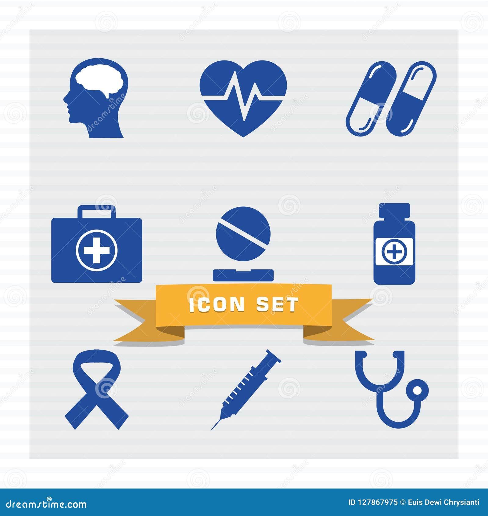 Medische pictogram vastgestelde vlakke stijl