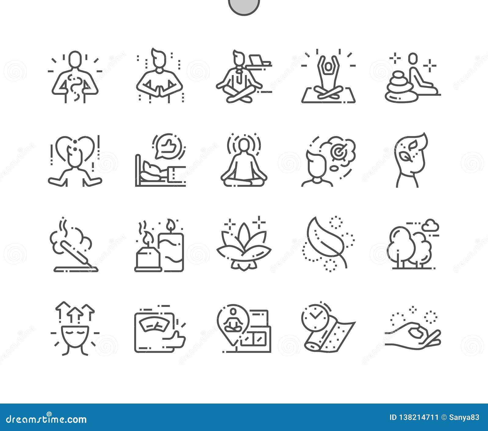 Meditatie en de geestelijke praktijken goed-Bewerkte Pictogrammen van de Pixel Perfecte Vector Dunne Lijn